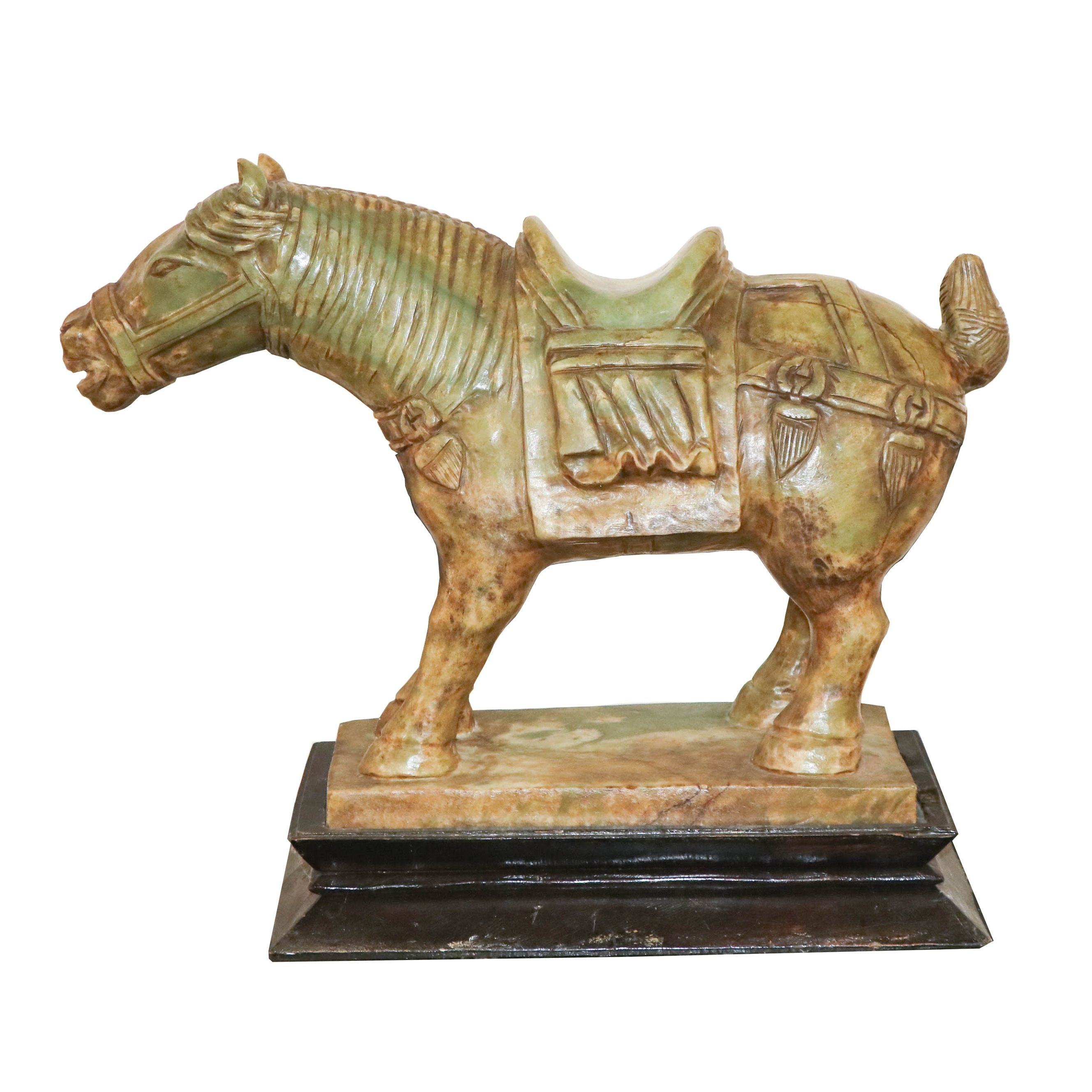 Chinese Style Carved Stone Horse Sculpture