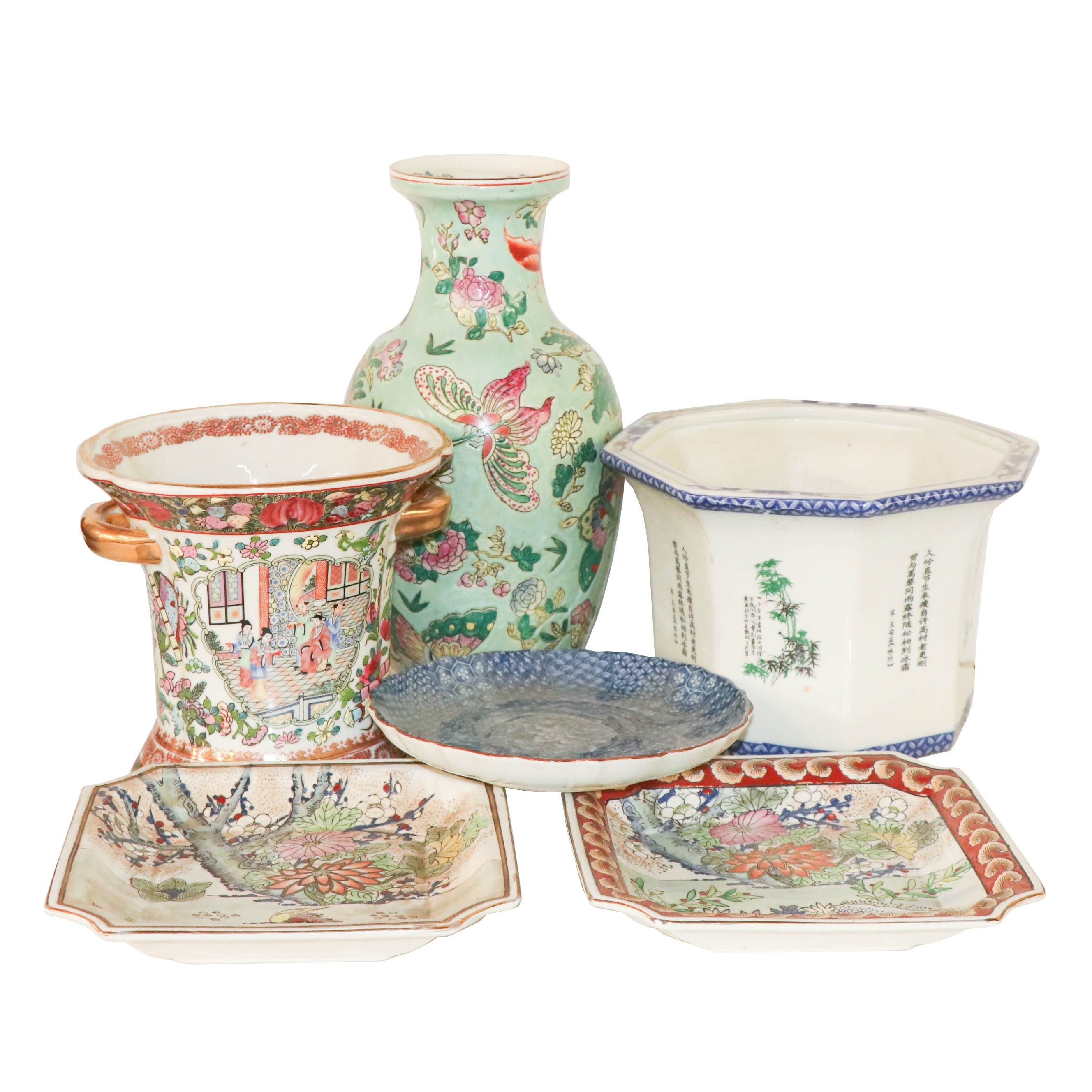 East Asian Ceramic Vase, Planters and Trays