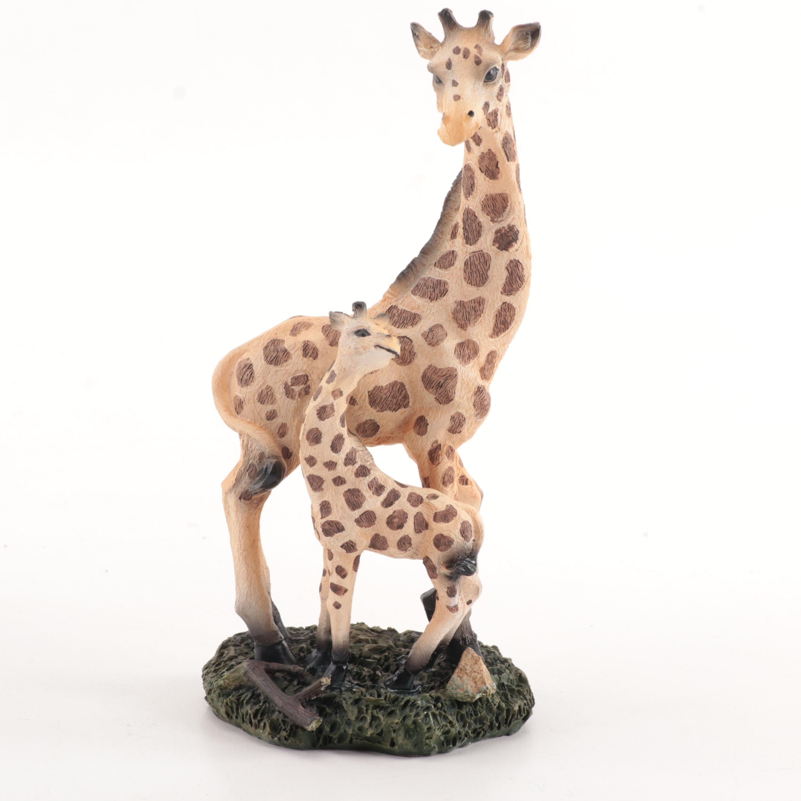 Hand-Painted Cast Resin Giraffe with Calf Figurine