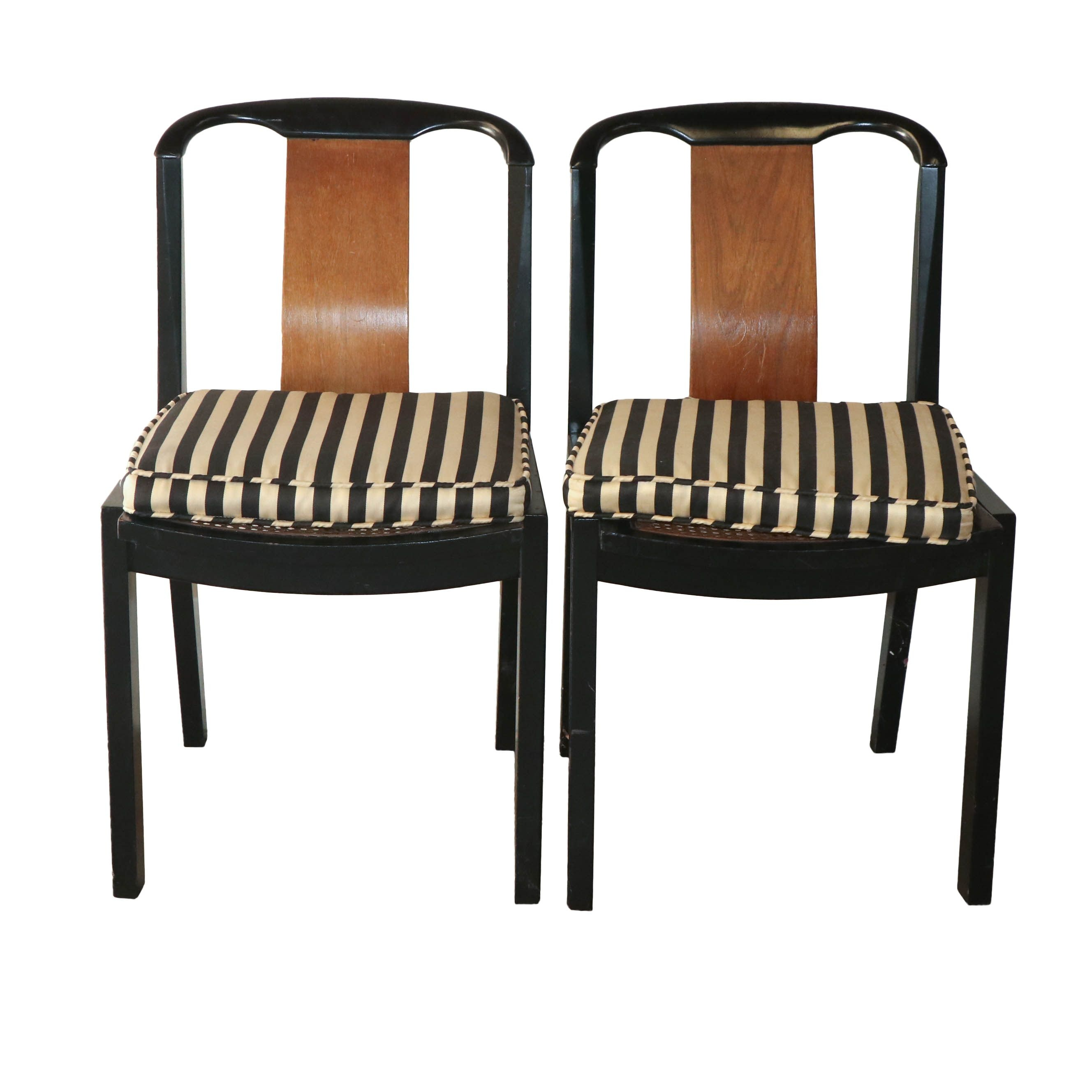 Contemporary Black Painted Side Chairs with Cane Seats