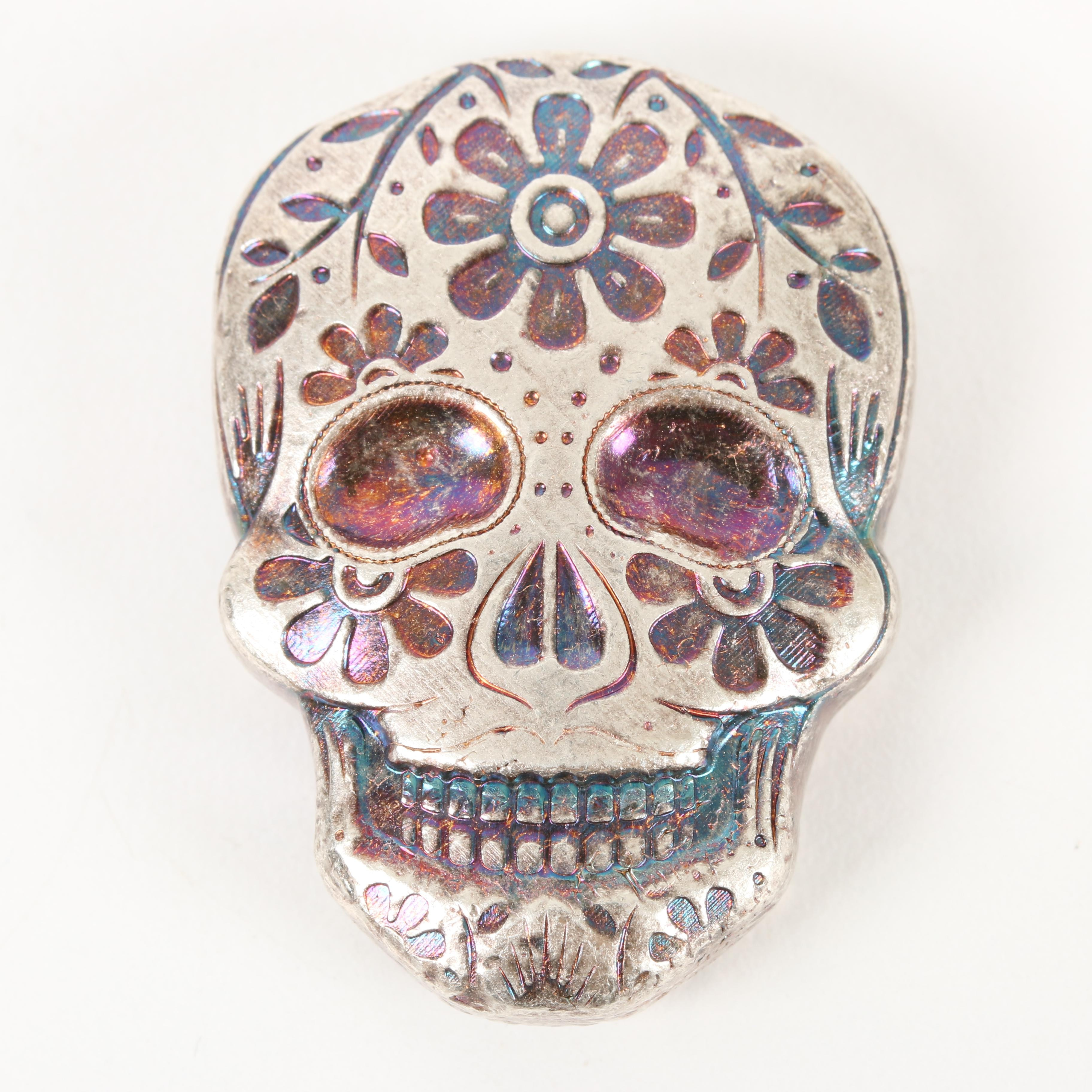 Two Troy Oz. .999 Silver Day of the Dead Skull