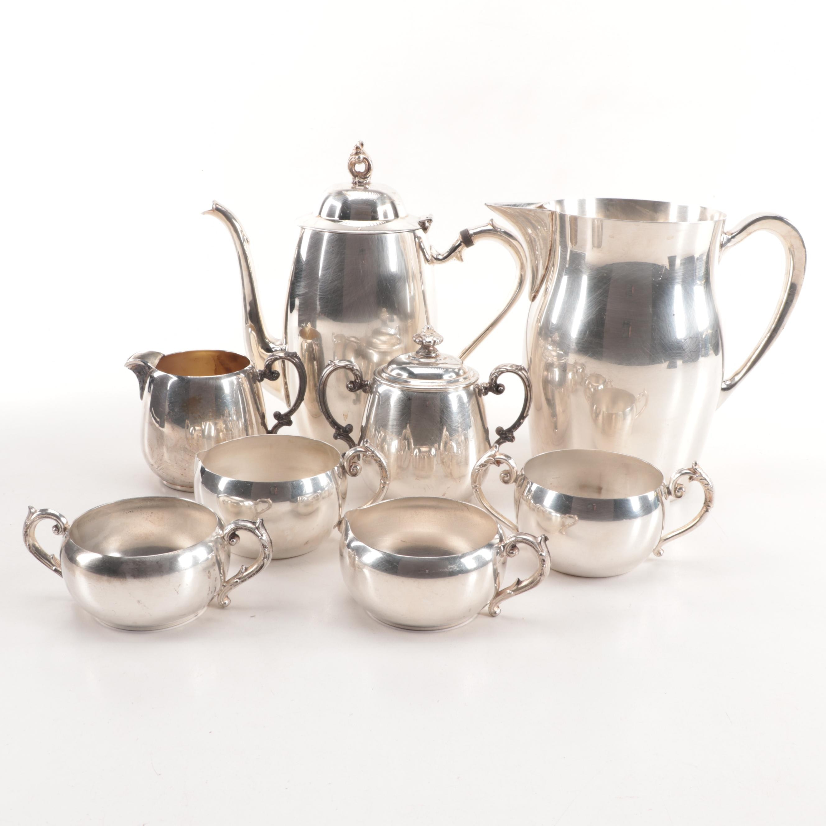 Silver Plate Creamer and Sugar Sets featuring Wm. Rogers with Bristol Pitcher