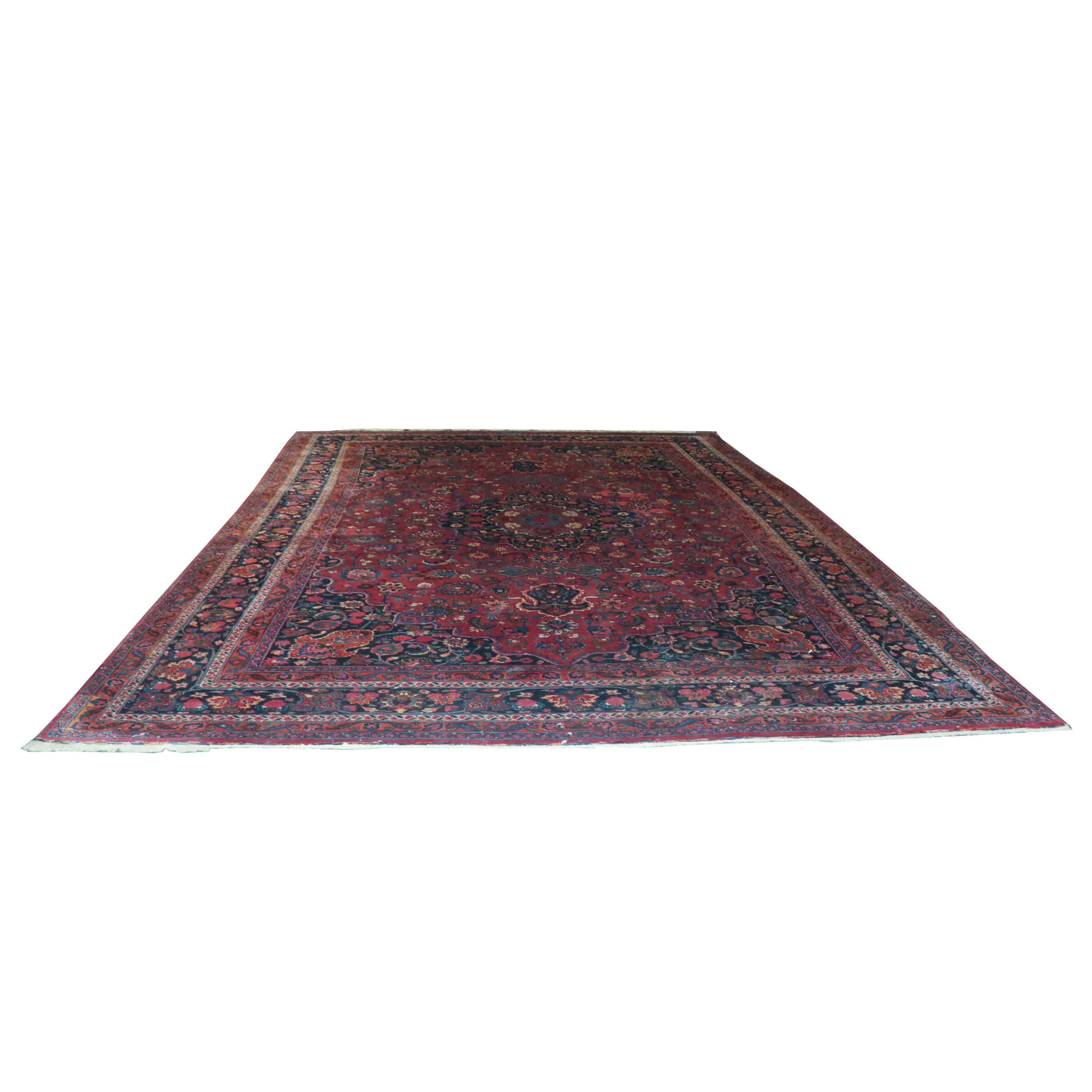 Semi-Antique Hand-Knotted Persian Meshed Wool Room Sized Rug