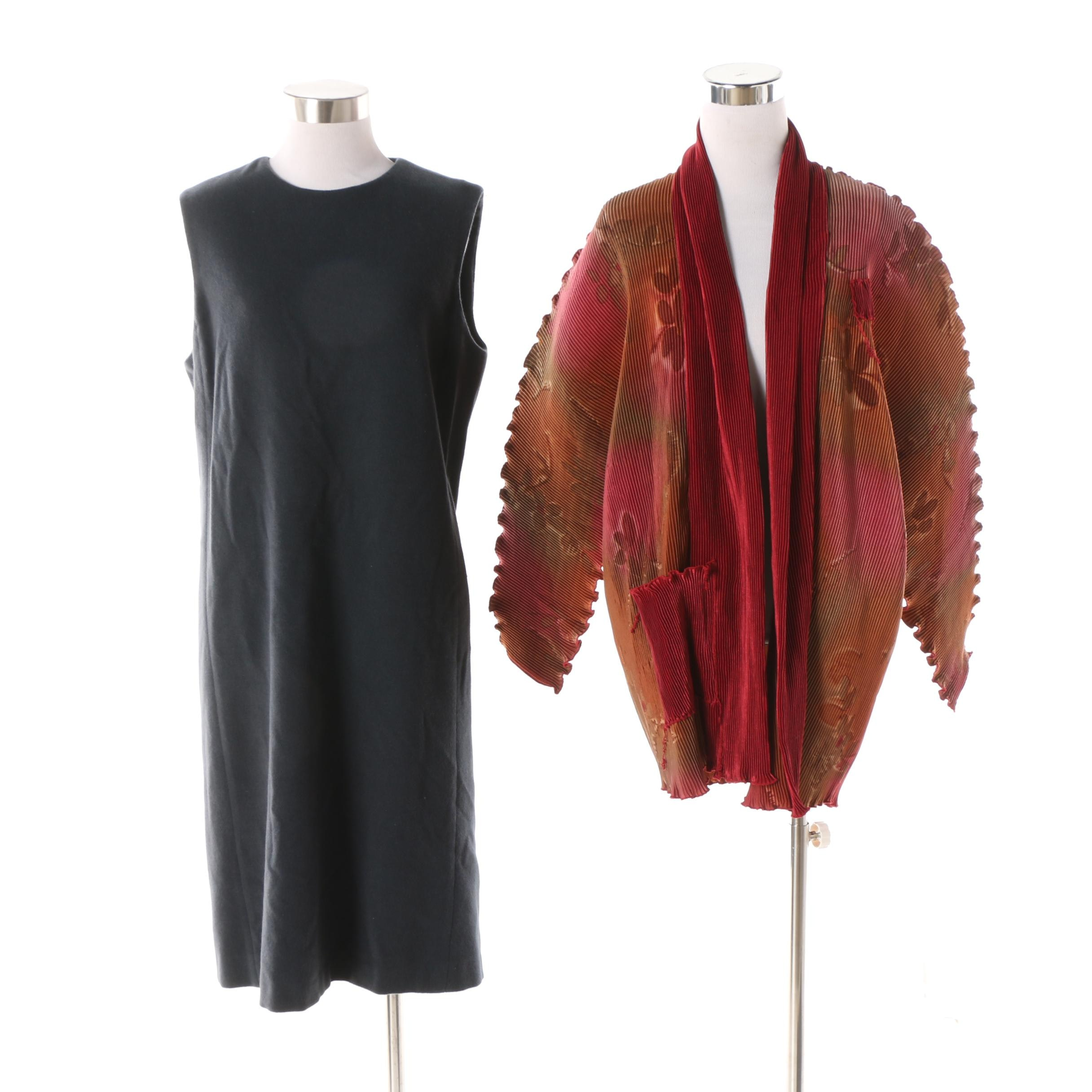 Women's TSE Cashmere Shift Dress and Ellen Hauptli Pleated Cardigan