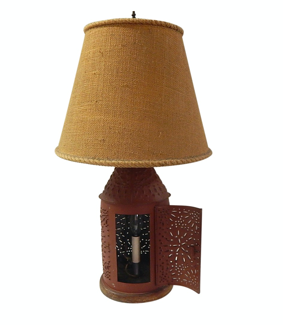 Reticulated Tin Base Table Lamp