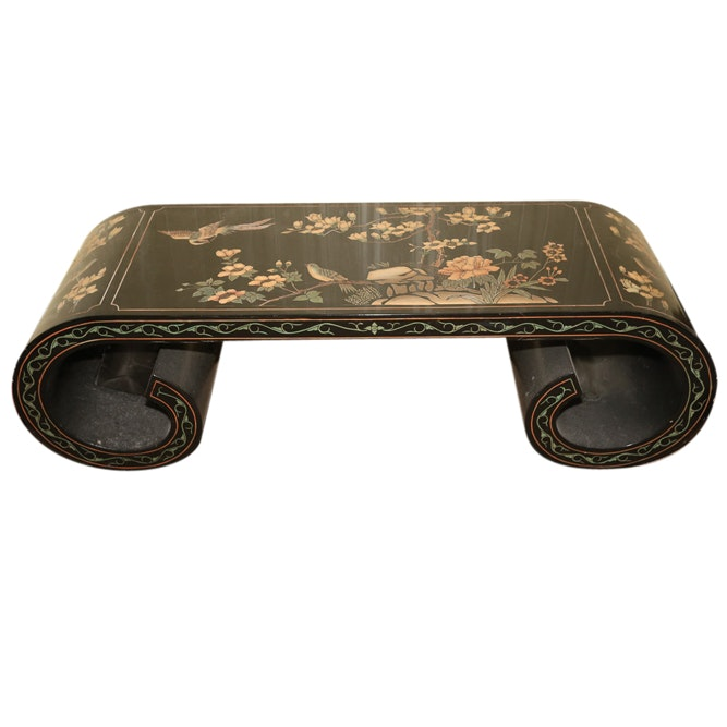 Chinese Black Lacquer Coffee Table, Late 20th Century