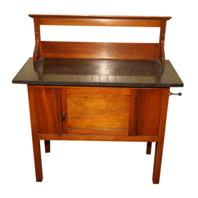 Cherry Finish Wood and Marble Buffet, Early 20th Century