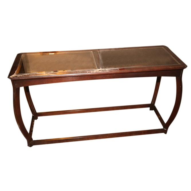 Glass and Wood Console Table, Late 20th Century