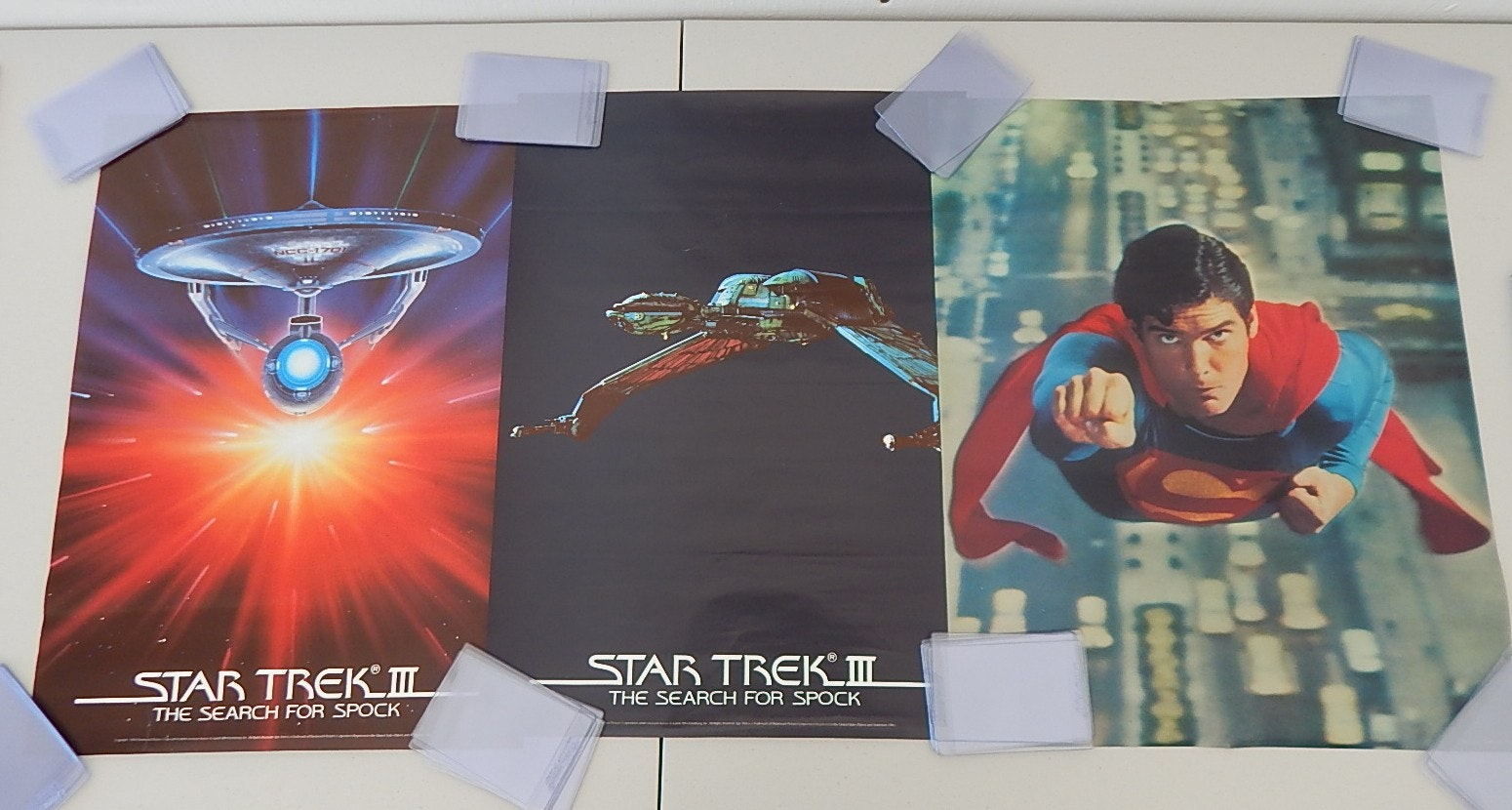 "Four Vintage 1970s Movie Posters with ""Star Trek III"" and ""Superman"""