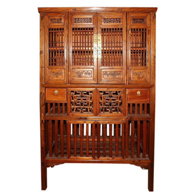 Chinese Exotic Hardwood Kitchen Cabinet, Early 20th Century