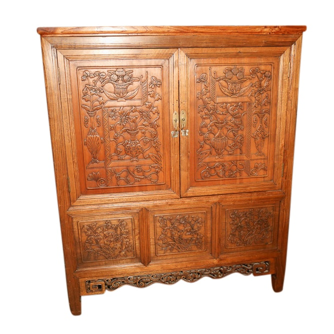 Chinese Carved Wood Cabinet, Early 20th Century