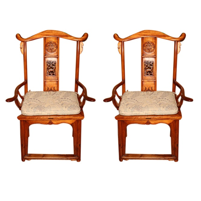 Chinese Lamphanger Style High Back Armchairs