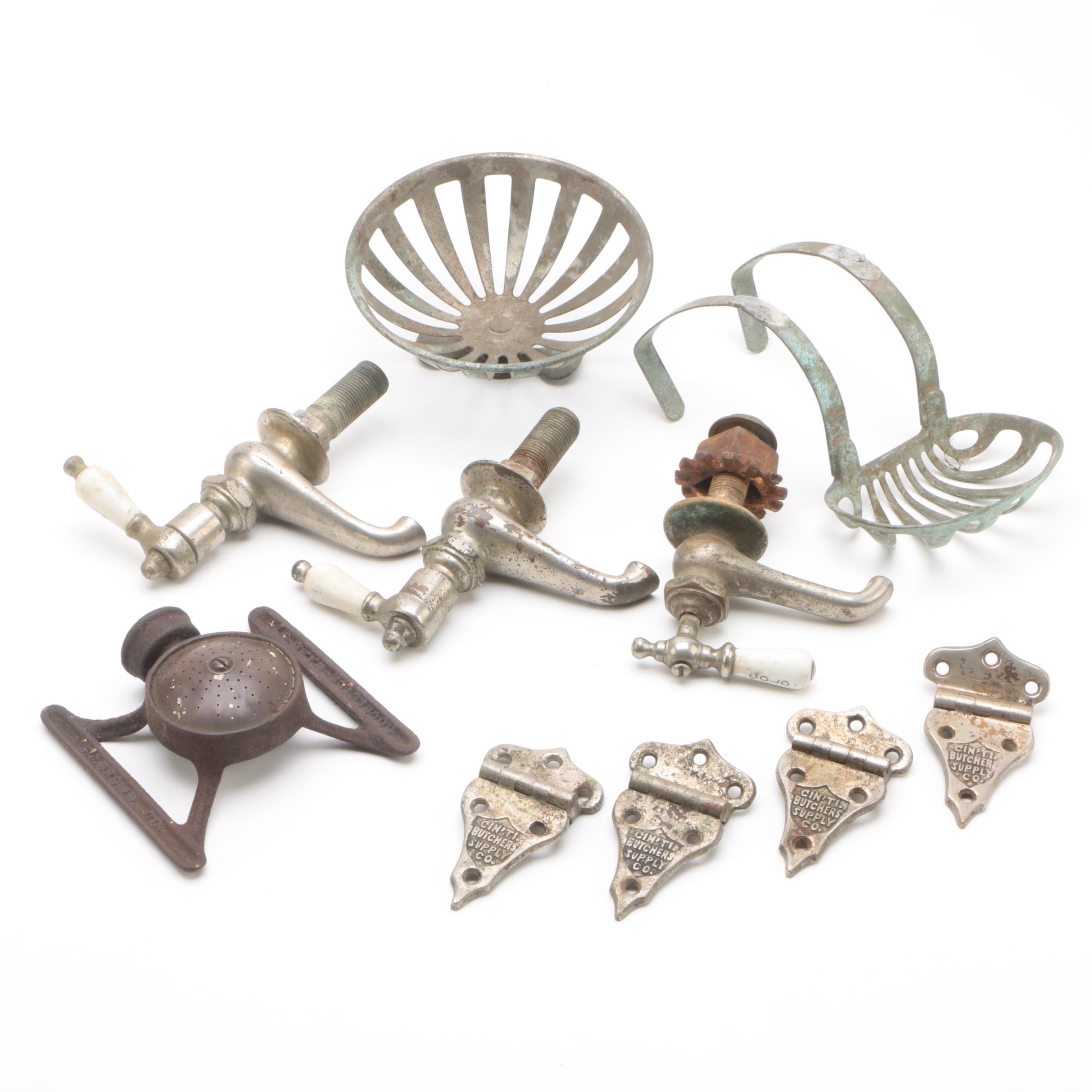 Vintage Faucet Taps, Cast Iron Sprinkler, Hinges and More