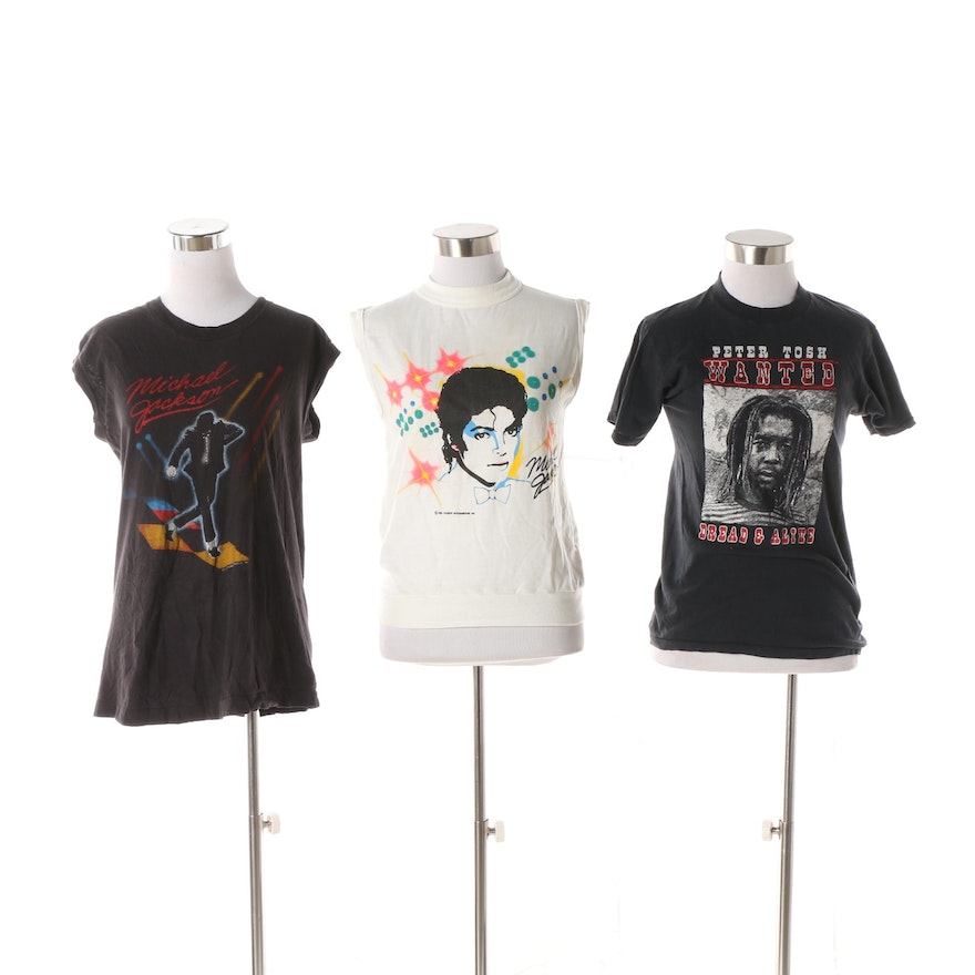 ae26e1ee Vintage Michael Jackson Victory Tour T-Shirts and Peter Tosh Concert T-Shirt  | EBTH