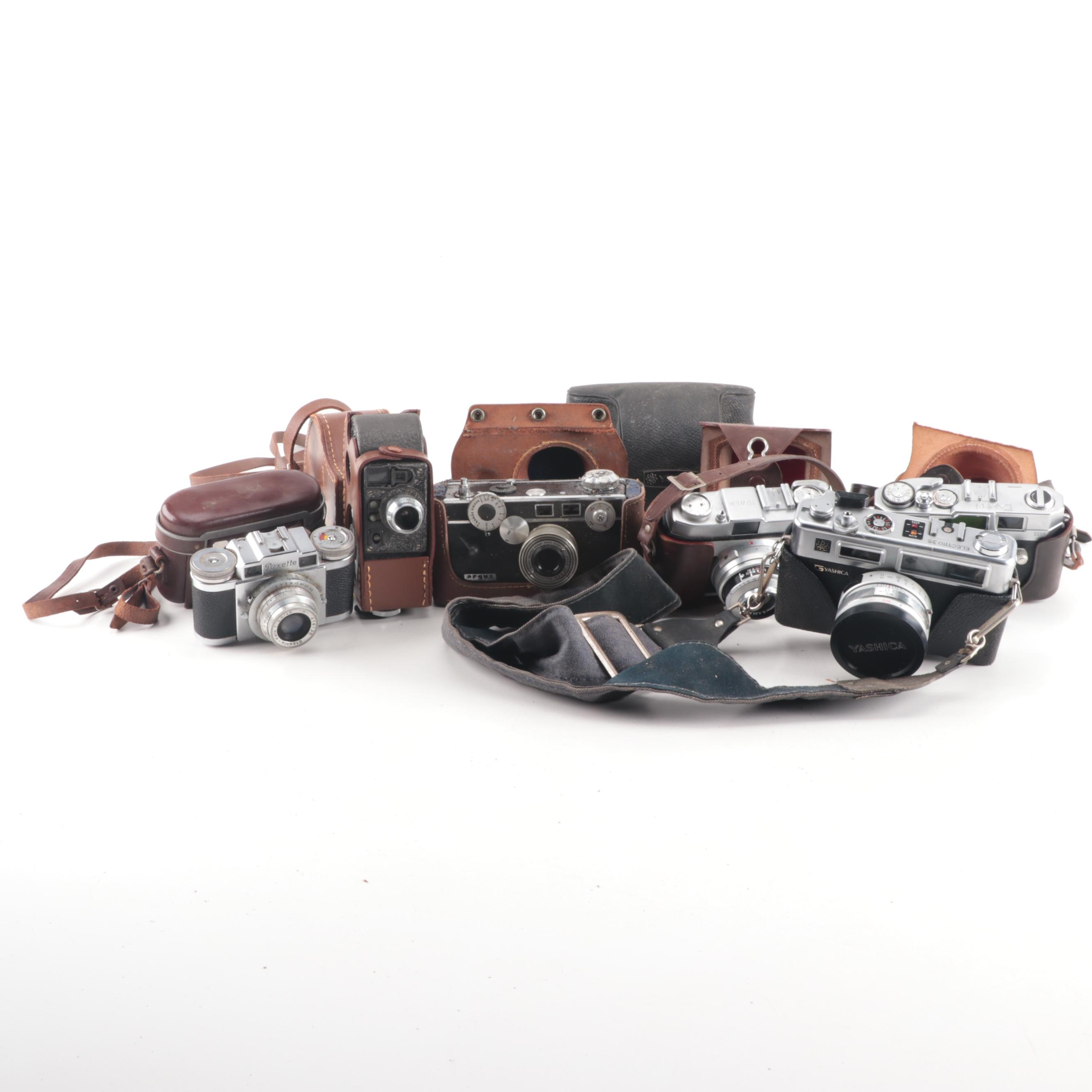 Vintage Film and Still Cameras with Cases