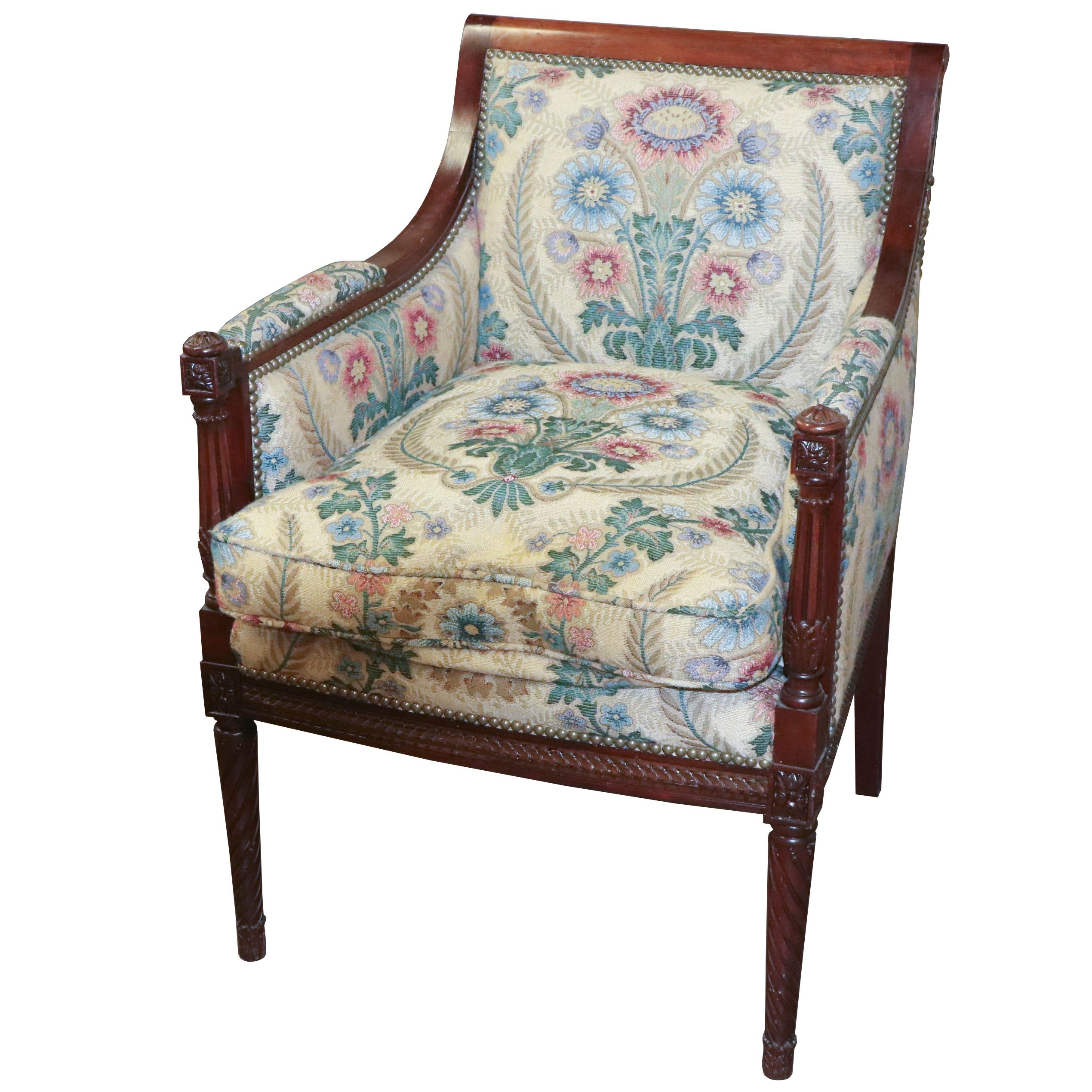 Louis XVI Style Upholstered and Mahogany Armchair, 20th Century