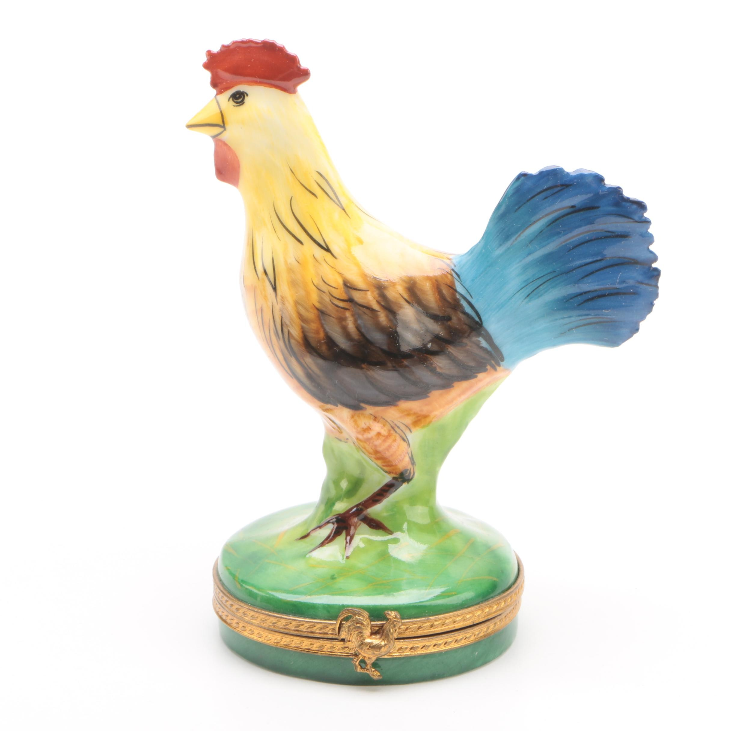 French Home Limoges Limited Edition Porcelain Rooster Trinket Box