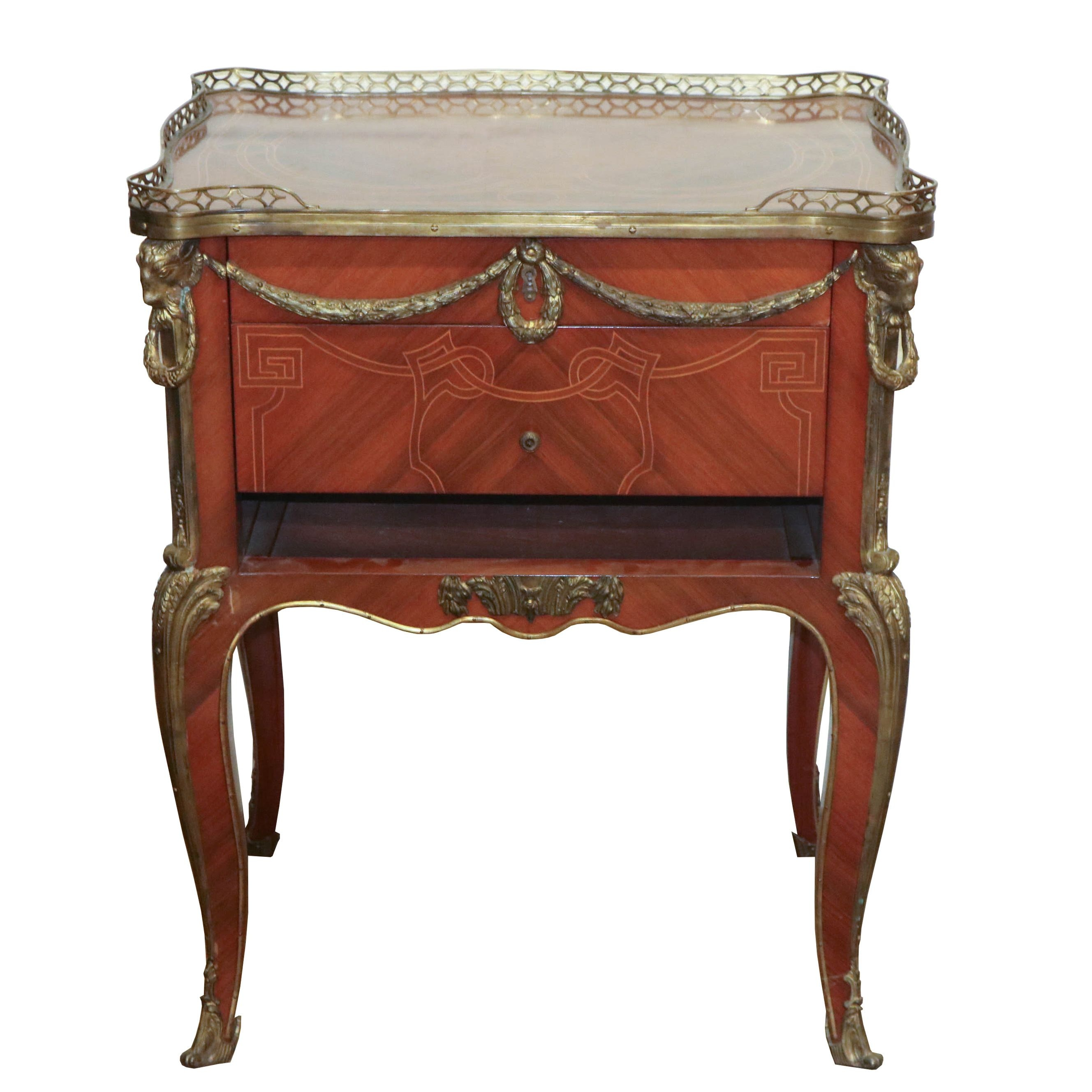 Louis XV Style Walnut Side Table with Ormolu Mounts, Early 20th Century