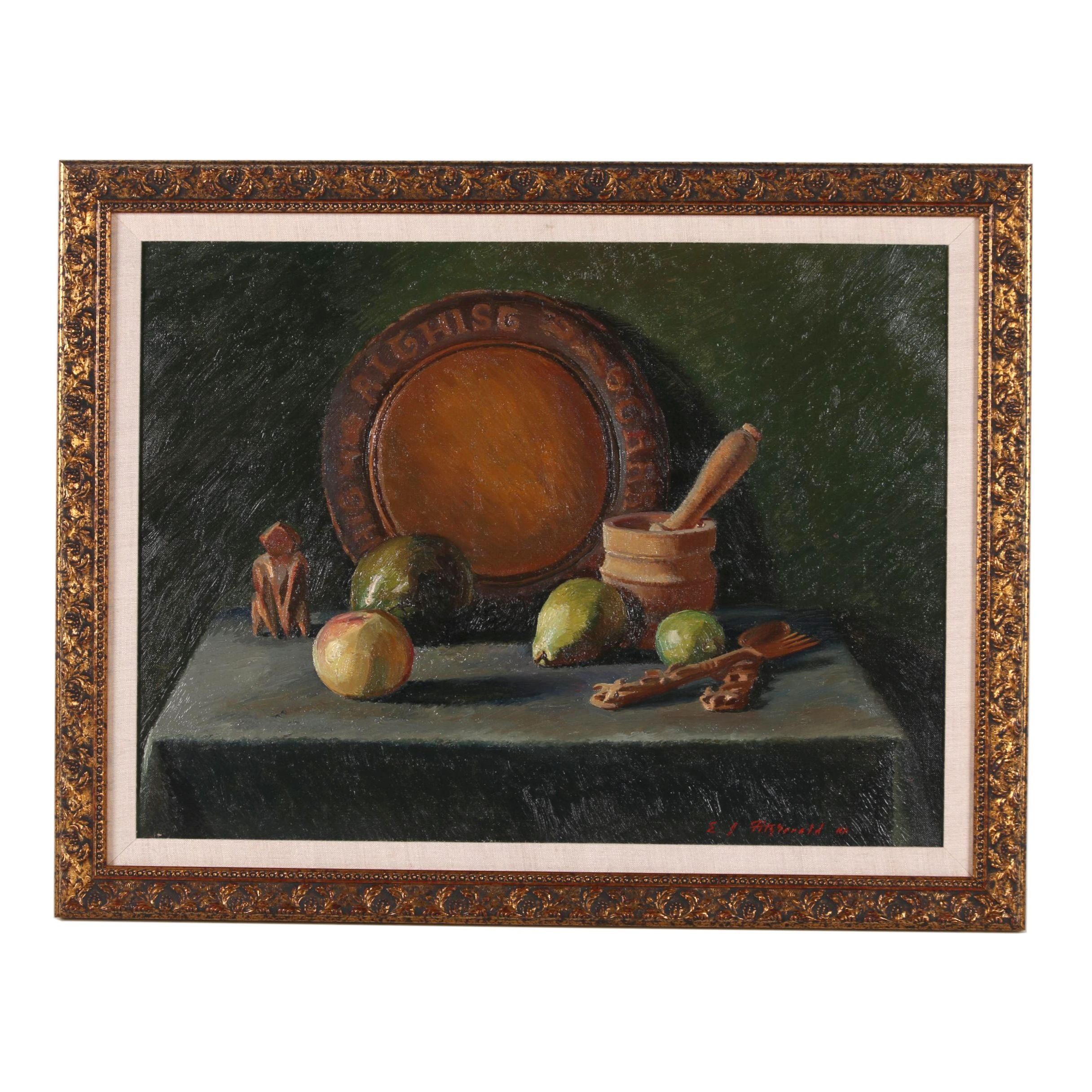 Edmond J. Fitzgerald Mid Century Still Life Oil Painting