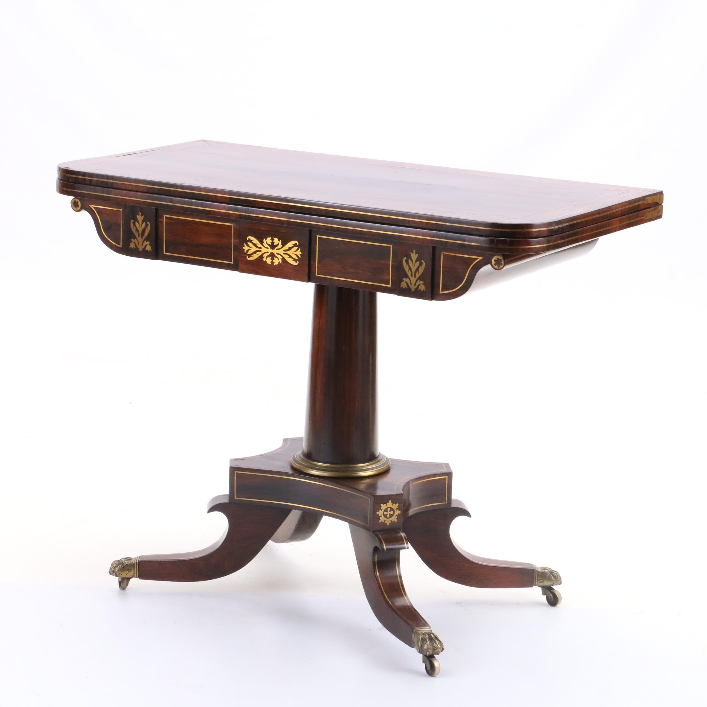 Regency Rosewood and Brass Inlay Game Table, Early 19th Century