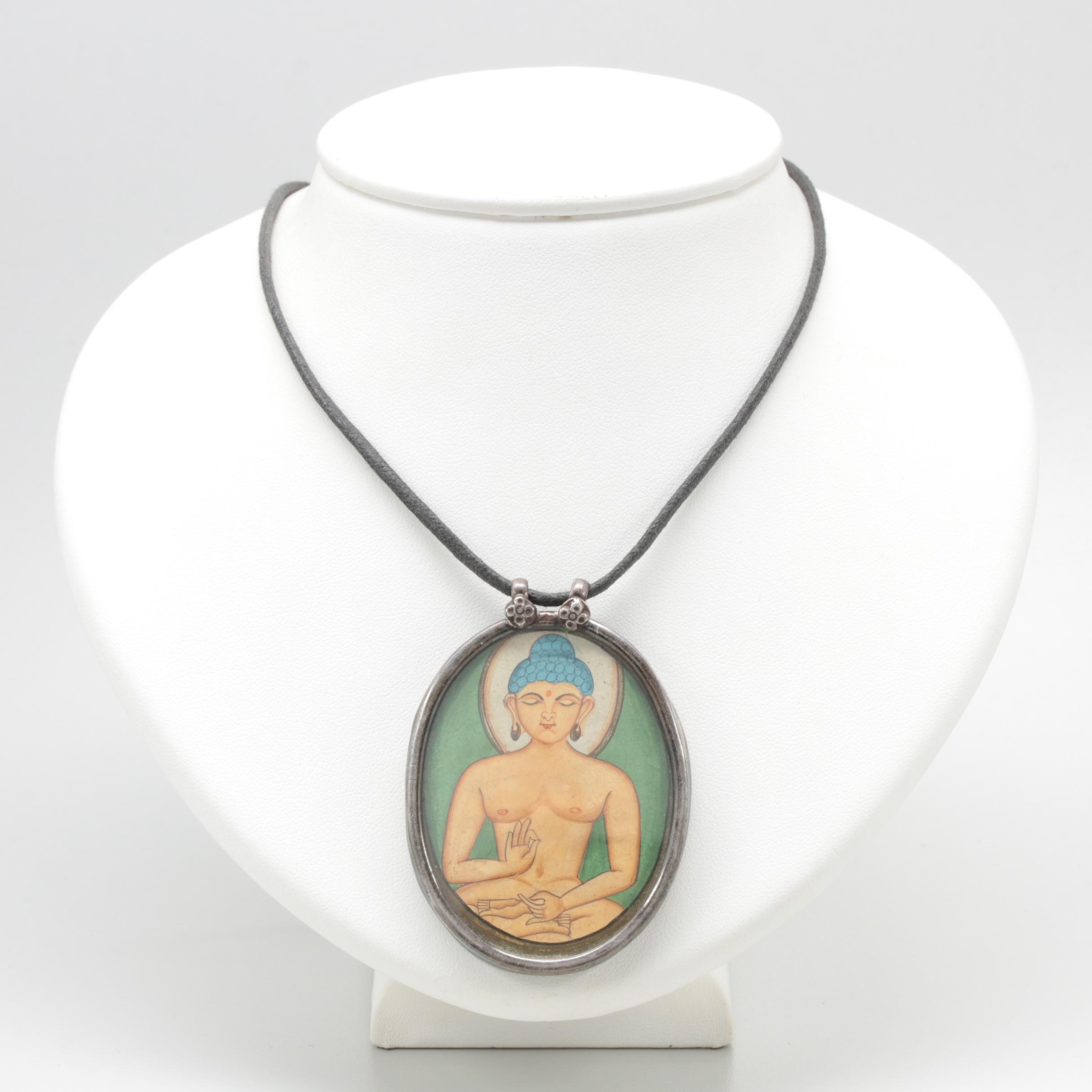 Sterling Silver Necklace with Painted Buddha Figure