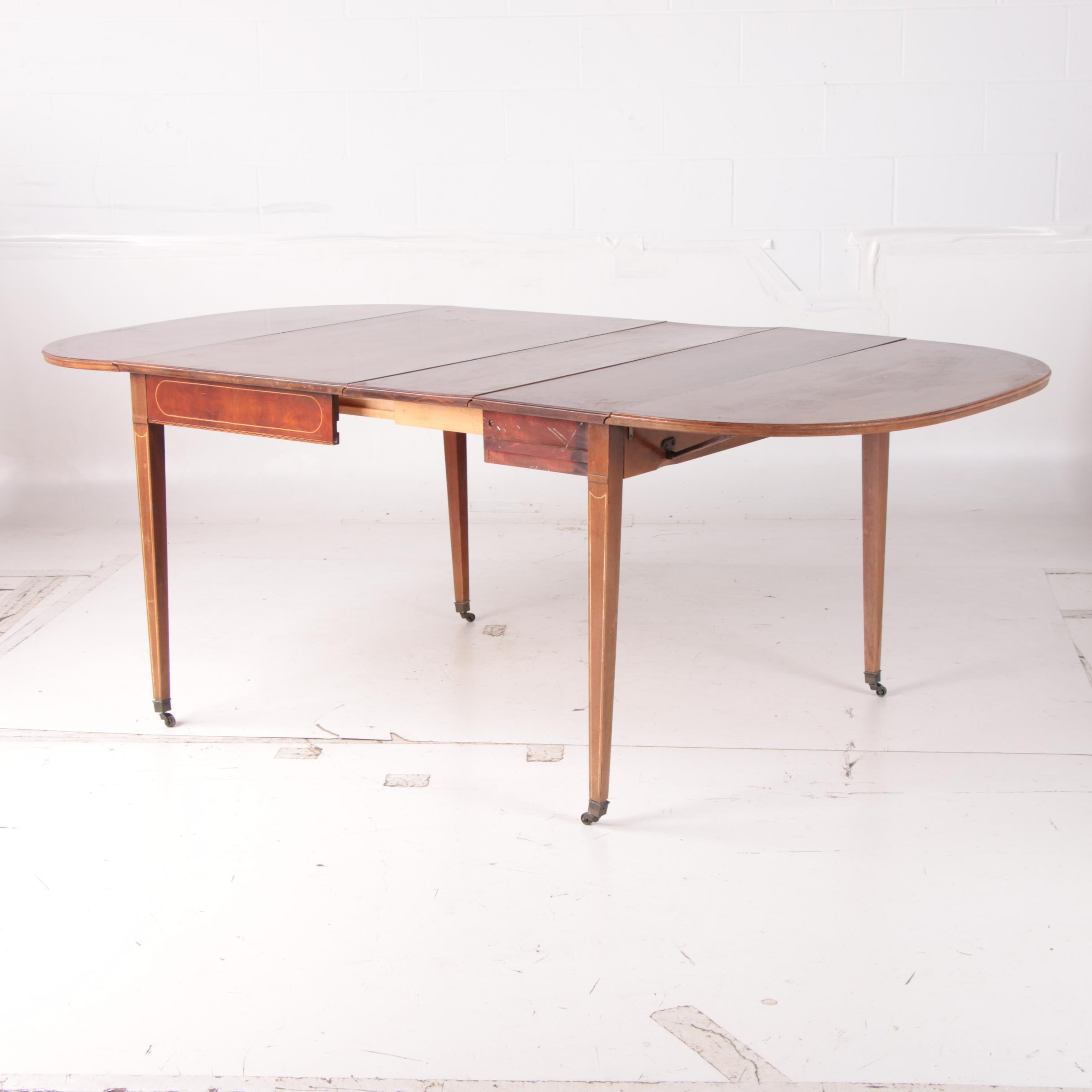 "Federal Style Mahogany ""Extensole"" Drop Leaf Dining Table, Mid-20th Century"