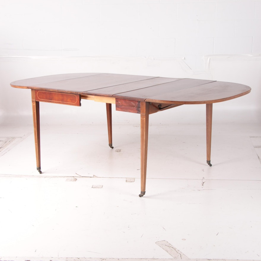 """Federal Style Mahogany """"Extensole"""" Drop Leaf Dining Table, Mid-20th Century"""