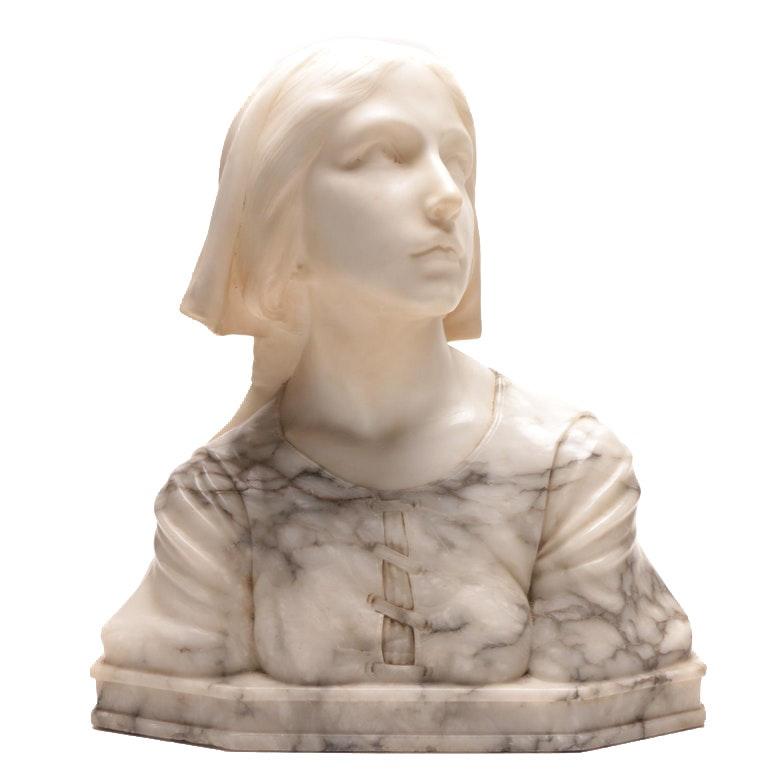 "Guglielmo Pugi Alabaster Sculpture ""A Bust of Jeanne d'Arc"""