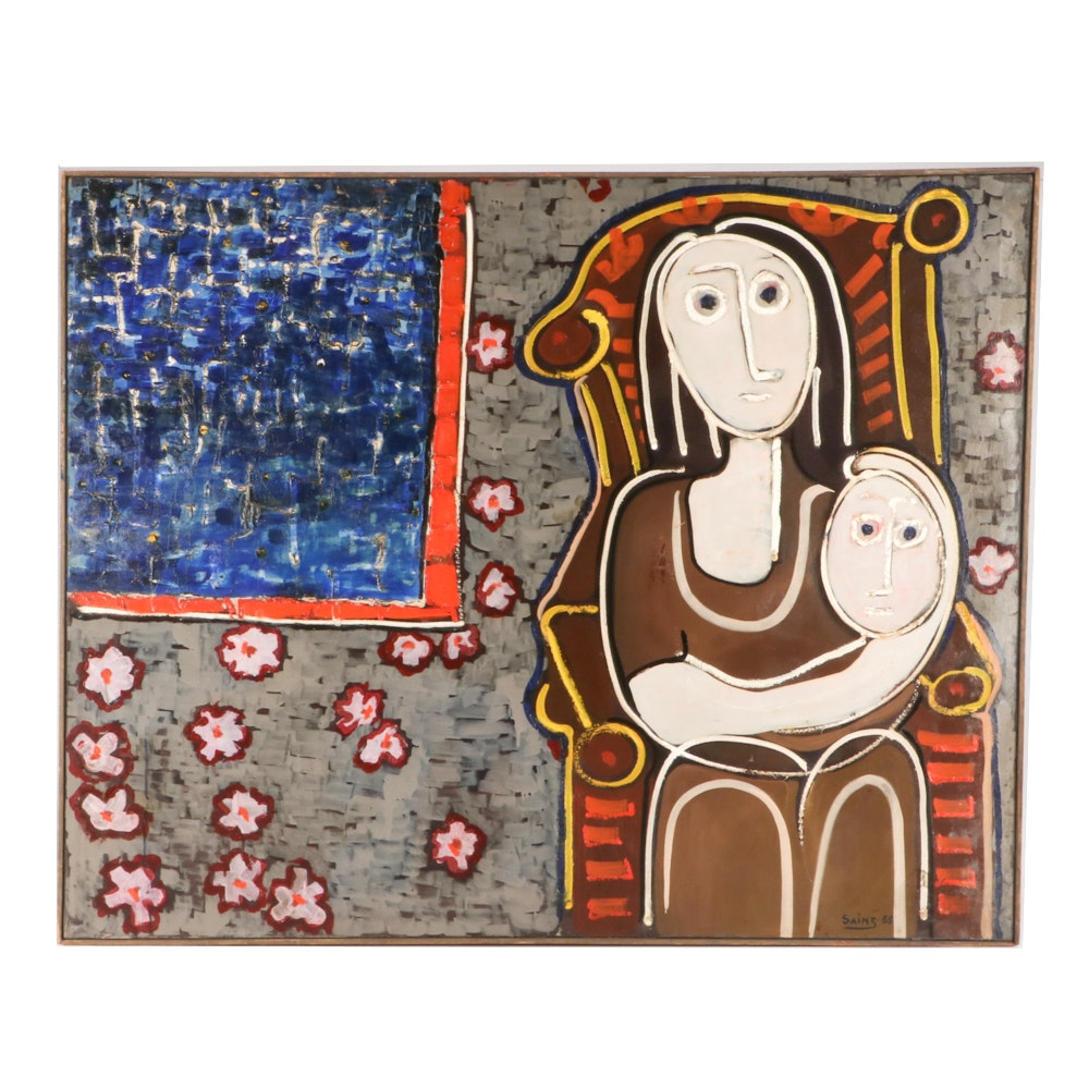 """Francisco Sainz 1955 Modernist Folk Oil Painting """"Mother and Child"""""""