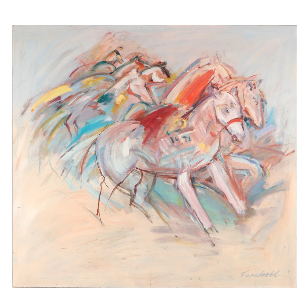 Beverly Erschell Abstract Expressionist Equine Oil Painting