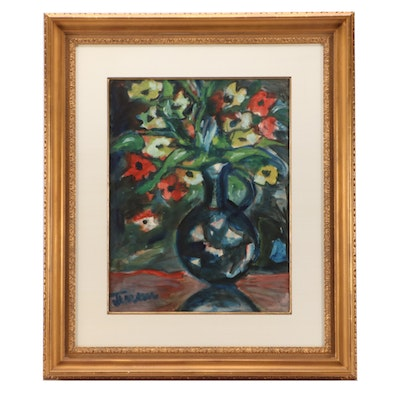 Jens Jensen Floral Arrangement Oil Painting on Paper