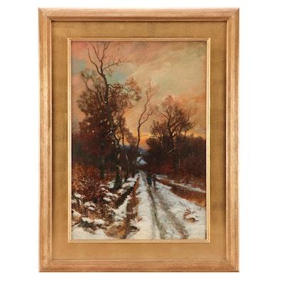 Willem Hendrik Eickelberg Oil Landscape on Wood Panel