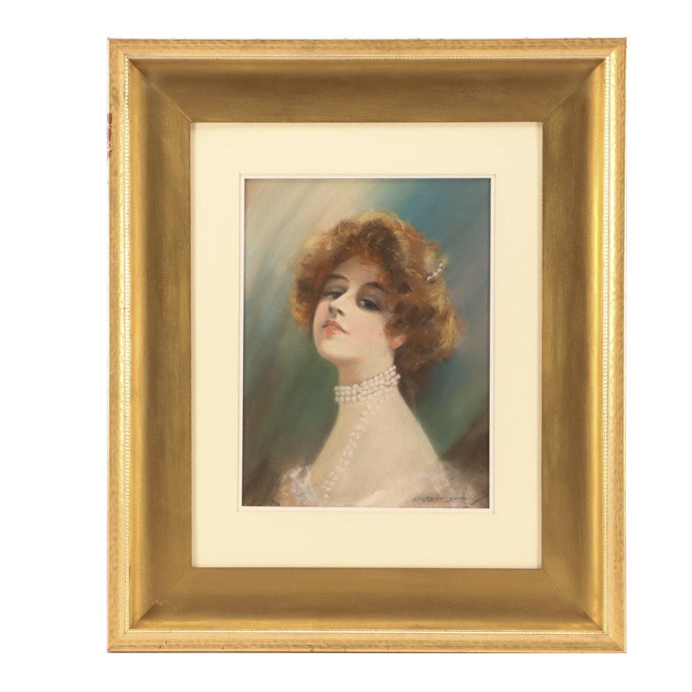 Everett Shinn Early 20th Century Pastel Portrait on Paper