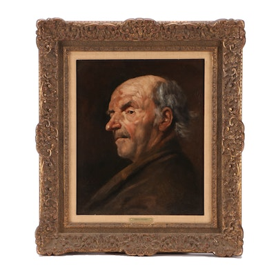 Henry Mosler Late 19th-Century Oil Portrait Painting