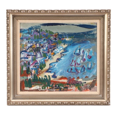 Paul Chidlaw Abstract Expressionist Coastal Town Landscape Oil Painting