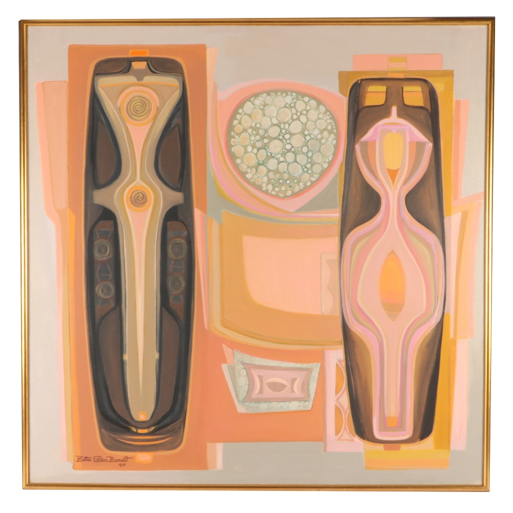 """Bettie Cilliers-Barnard 1970 Oil Painting """"Primordial Day Dream"""""""