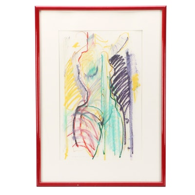 Jack Meanwell 1983 Oil Pastel Figure Drawing