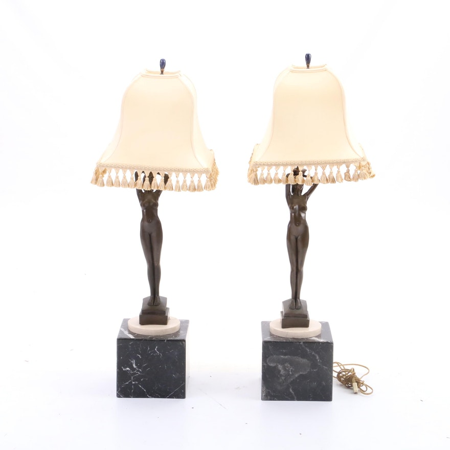 Vintage Reproduction Nude Figural Lamps