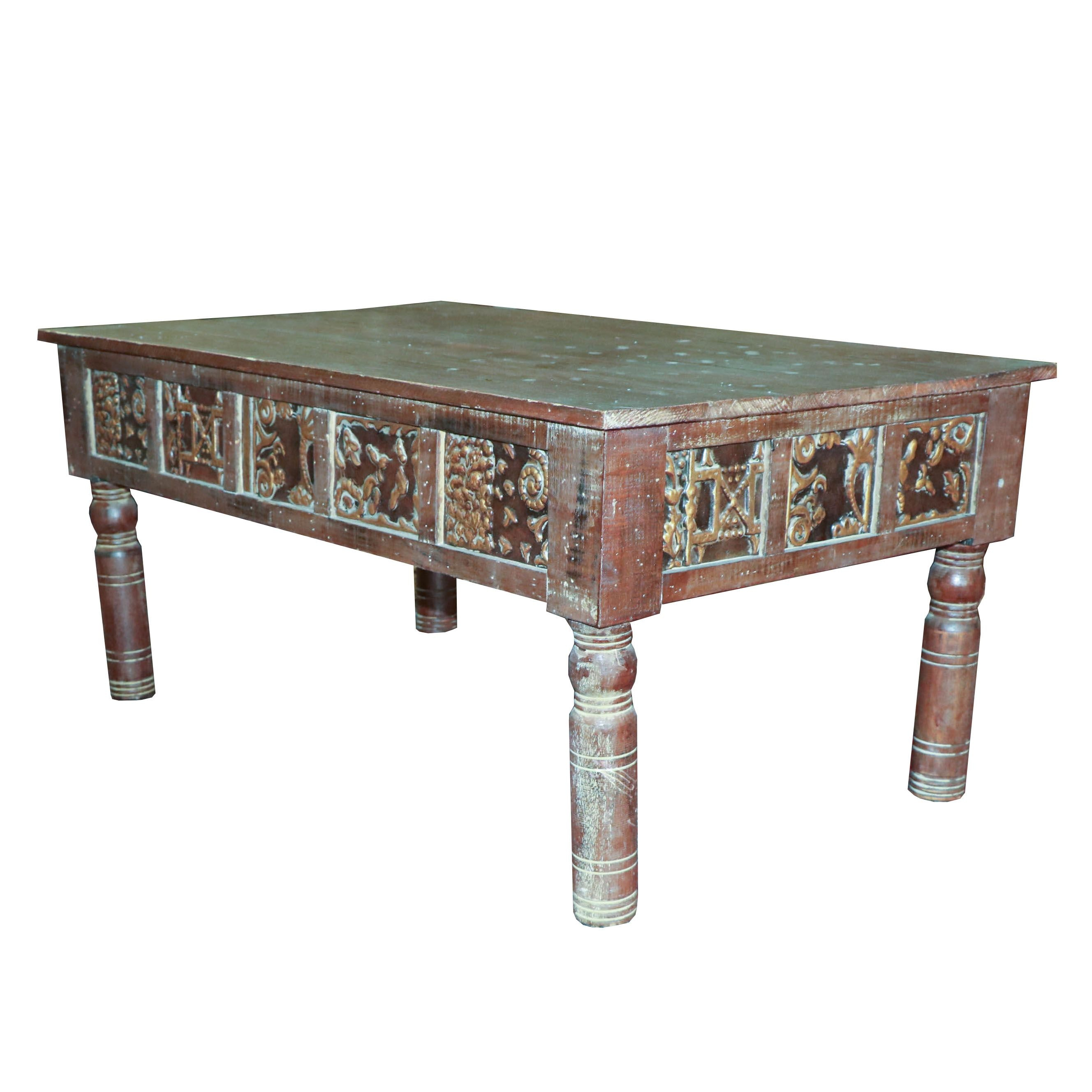 Tile and Wood Coffee Table, 20th Century
