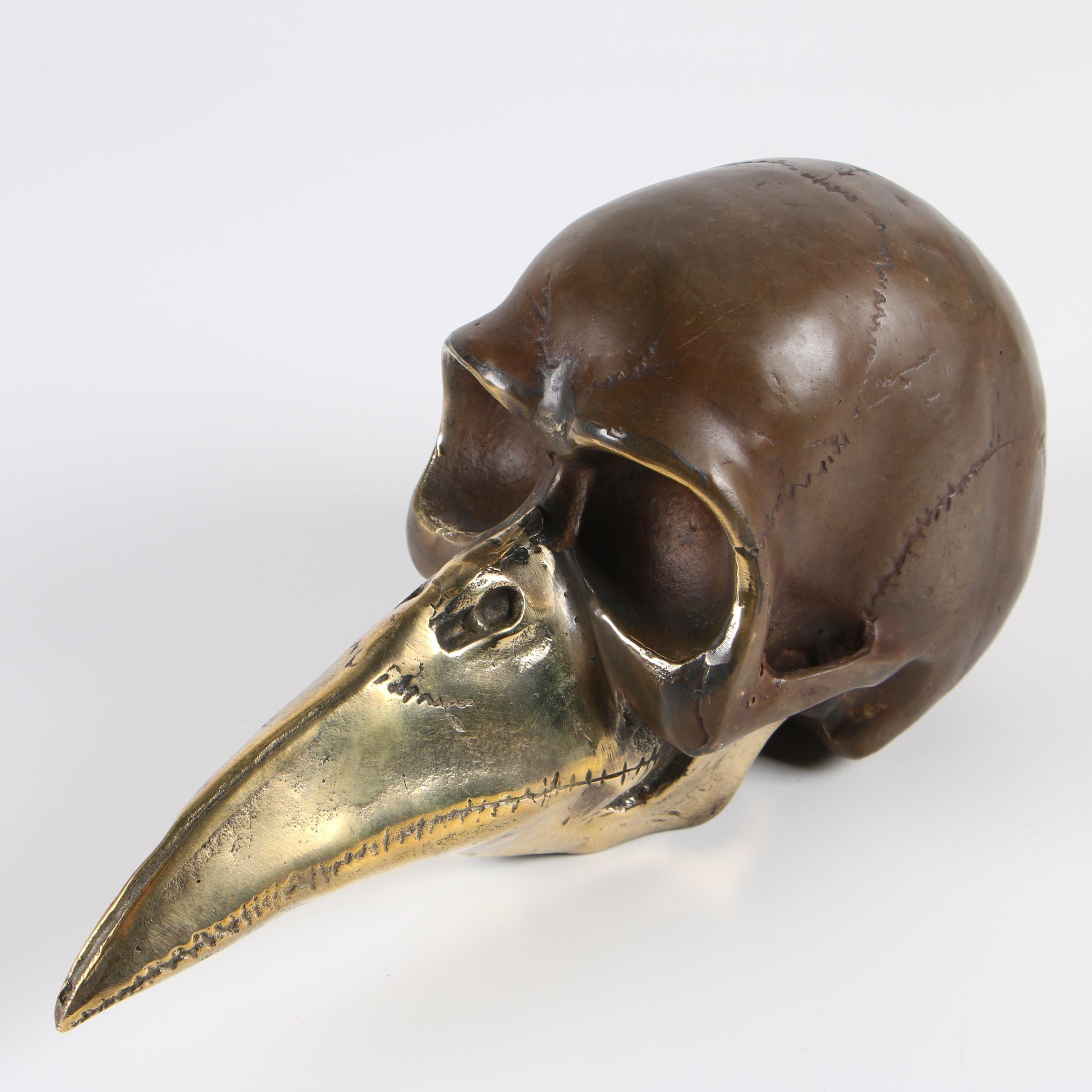 Artist Signed Plague Doctor Skull Sculpture