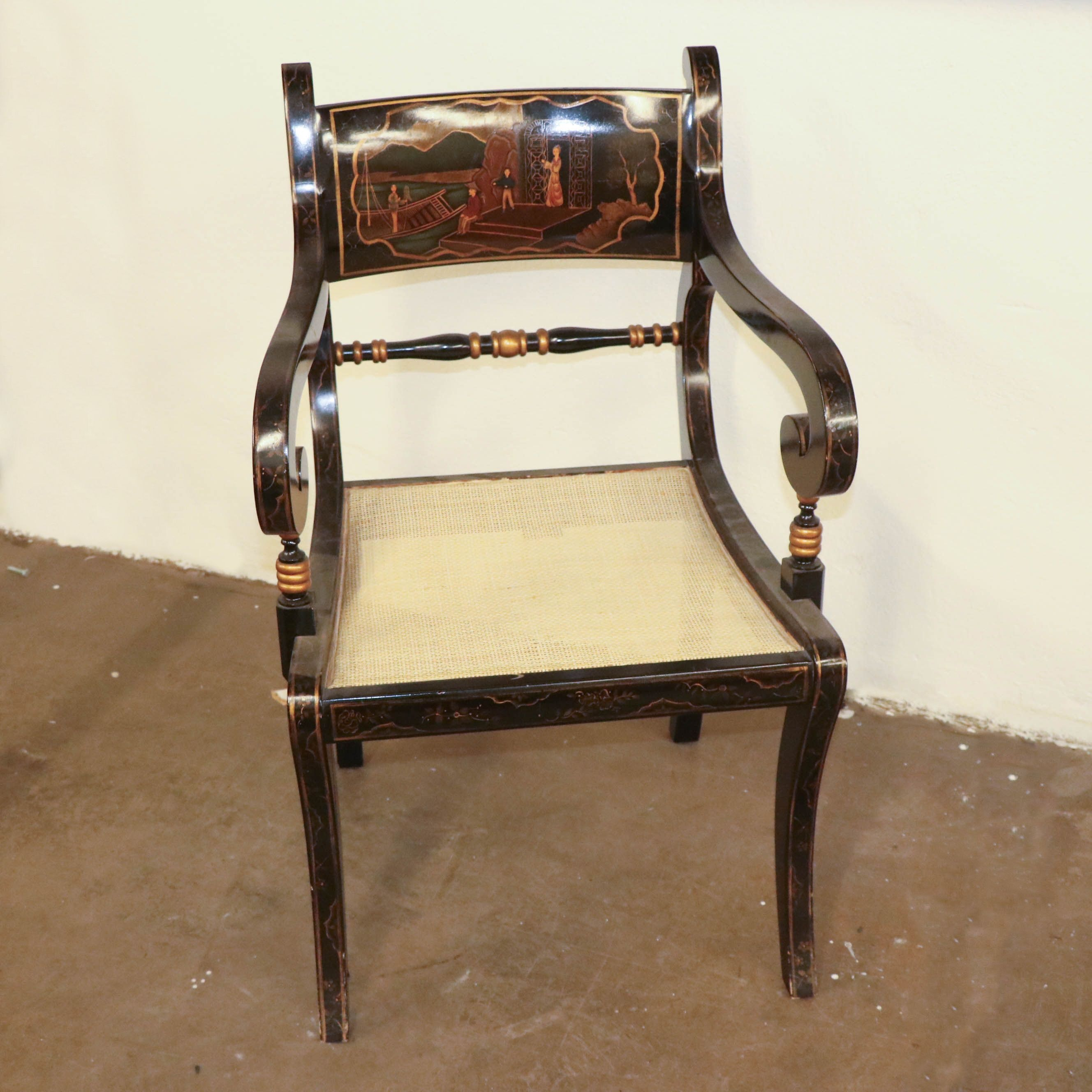 Empire Style Black Lacquered Chinoiserie Armchair, Mid 20th Century
