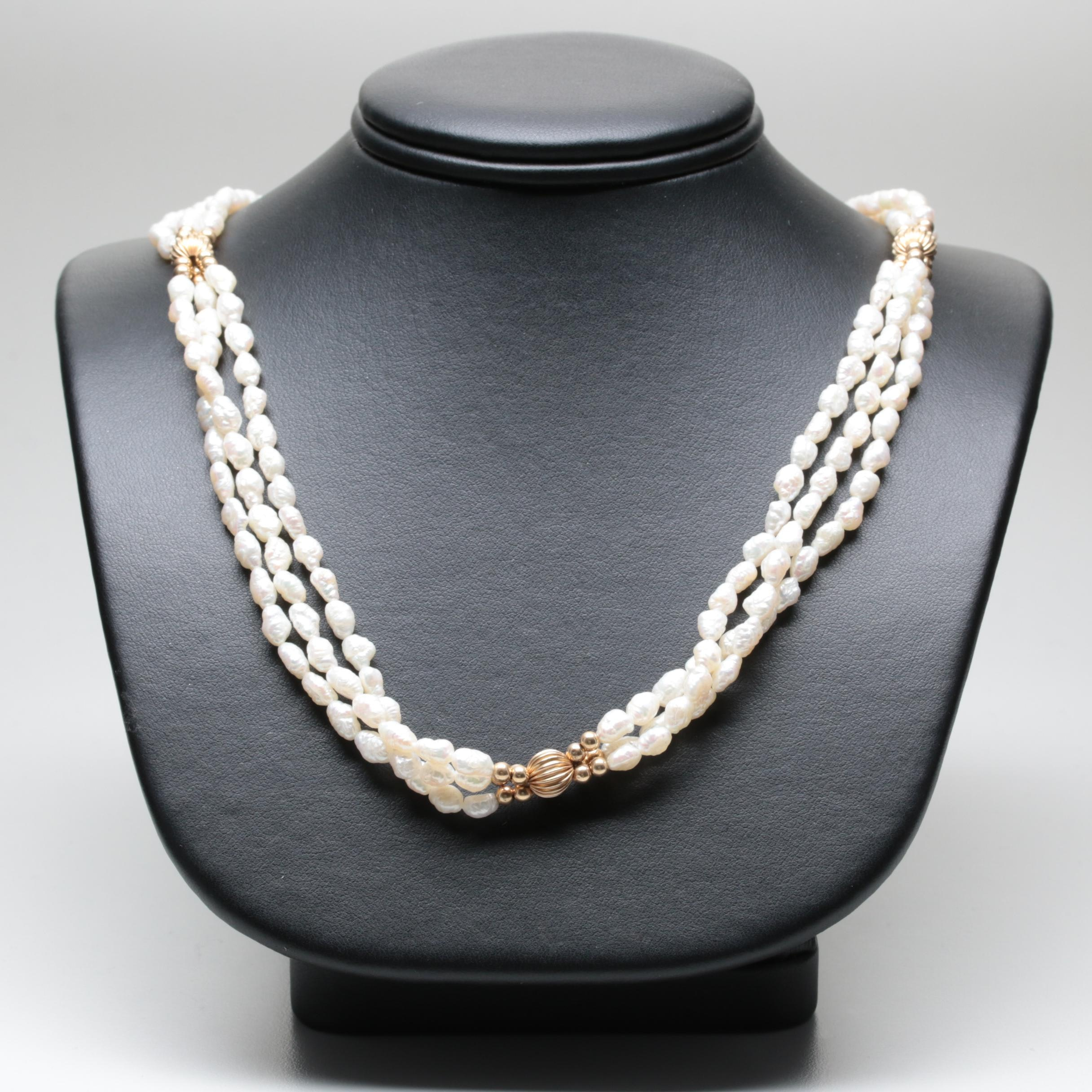 14K Yellow Gold Multistrand Cultured Pearl Necklace