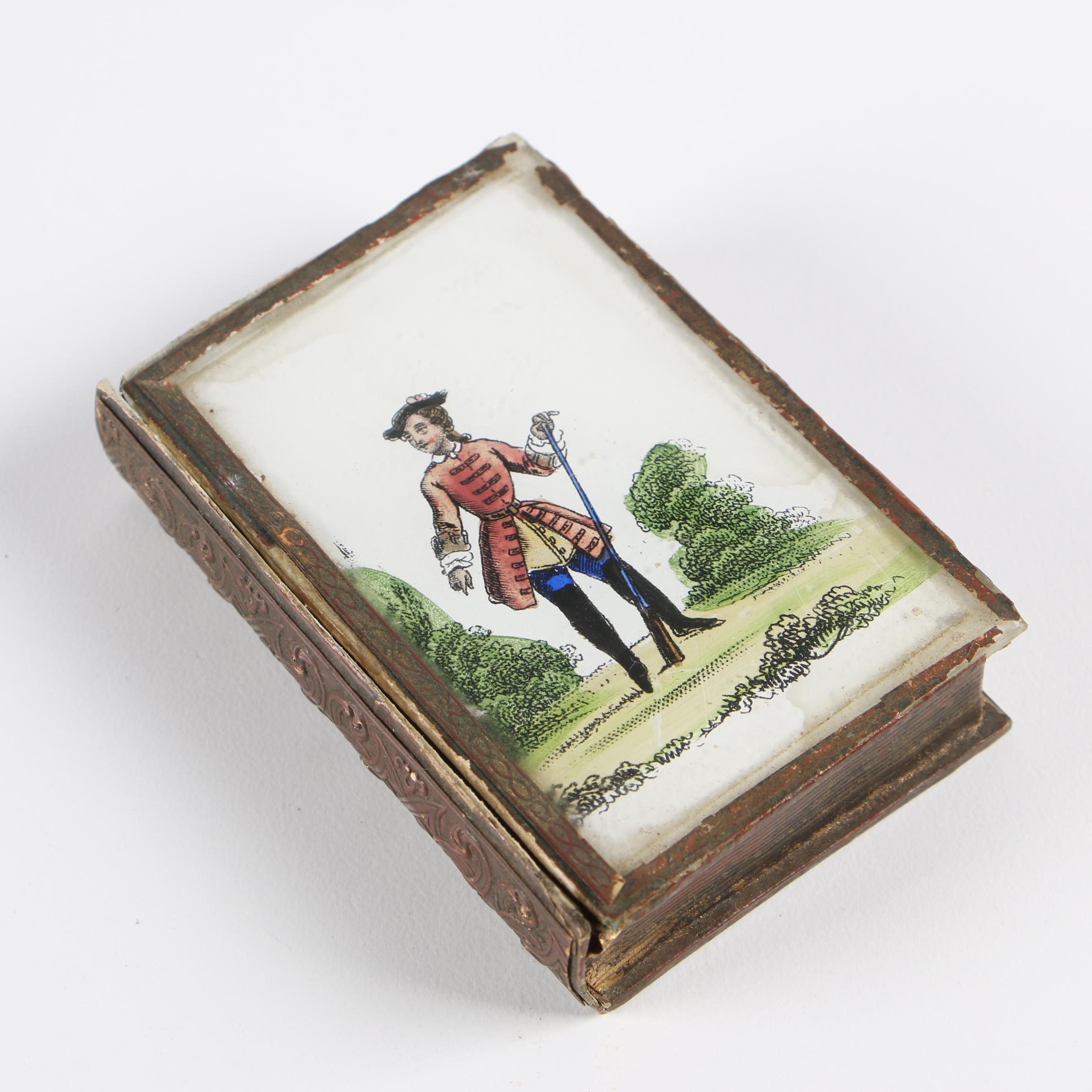 Book Shaped Memento Box with Reverse Glass Image Lid and Mirror