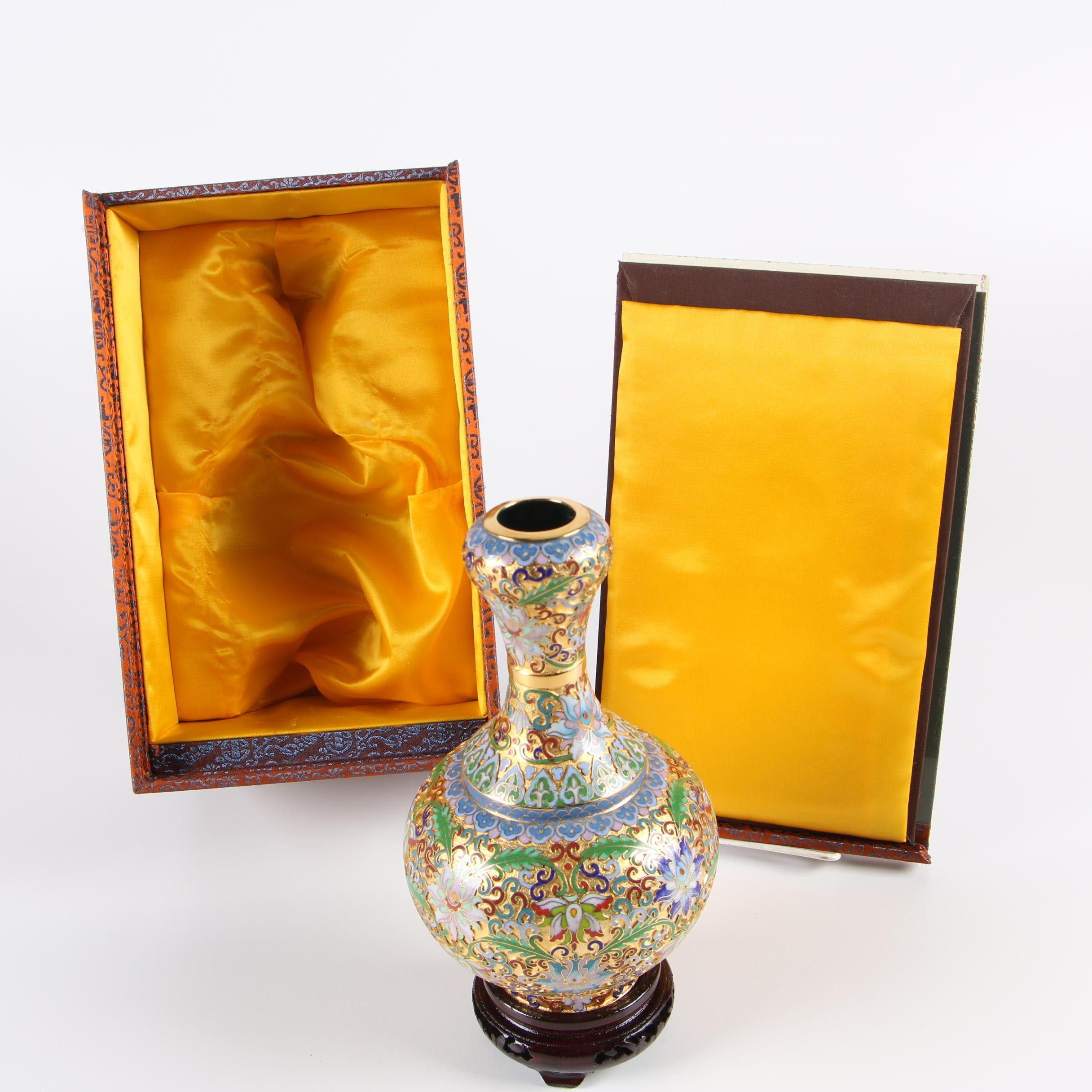 Chinese Champlevé Enameled Vase with Wooden Stand and Decorative Box