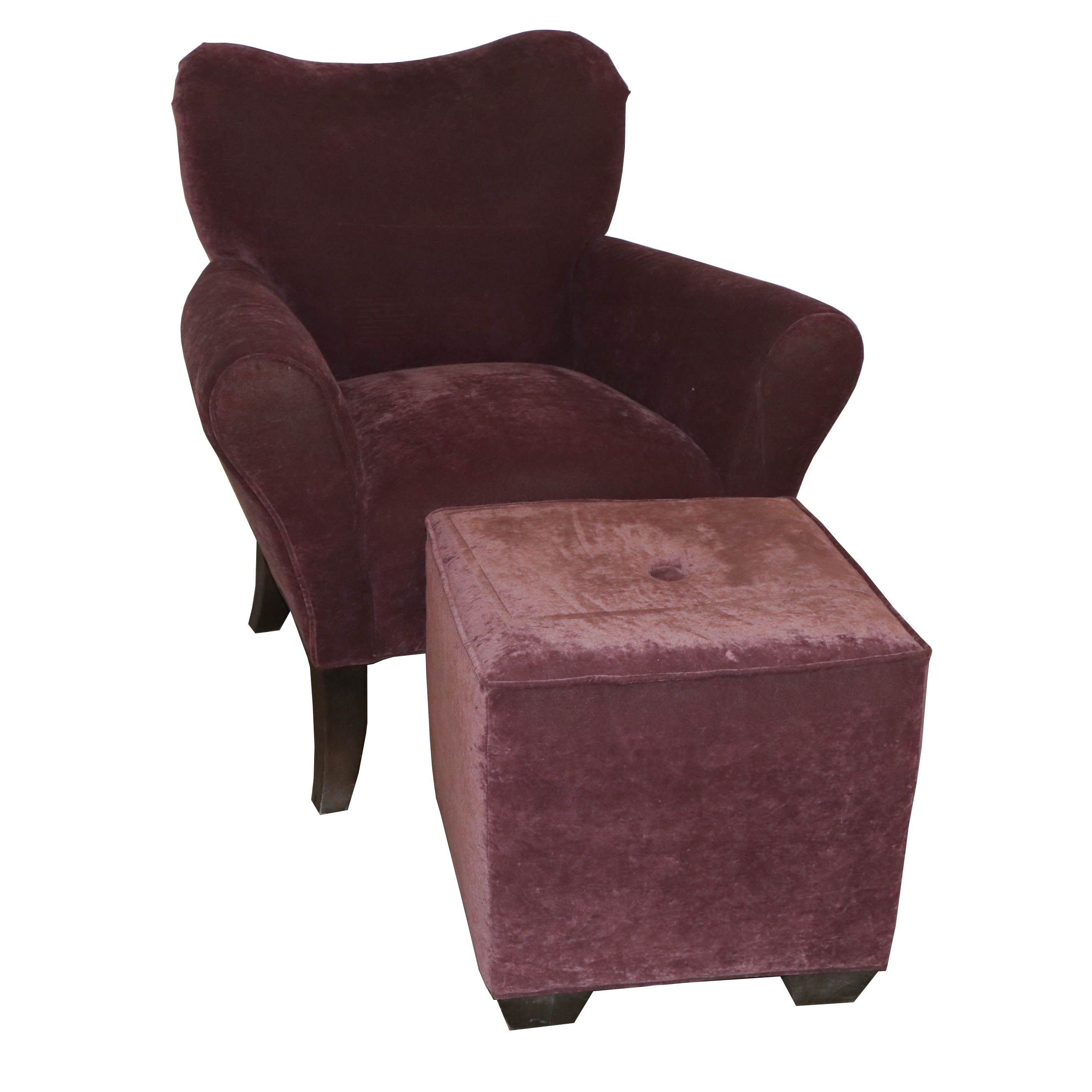 Contemporary Upholstered Armchair and Ottoman