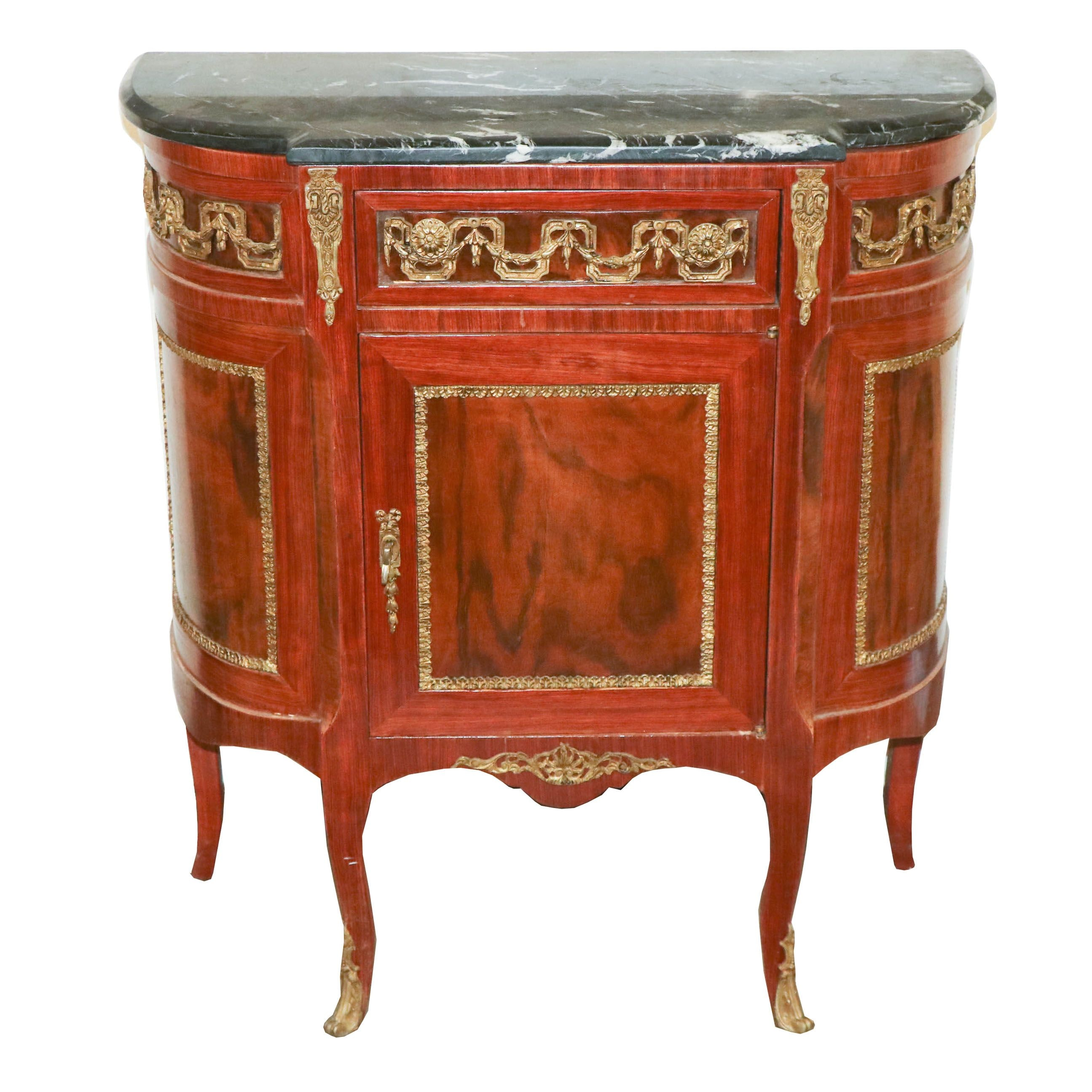 Louis XV Style Mahogany Finish Cabinet, 20th Century