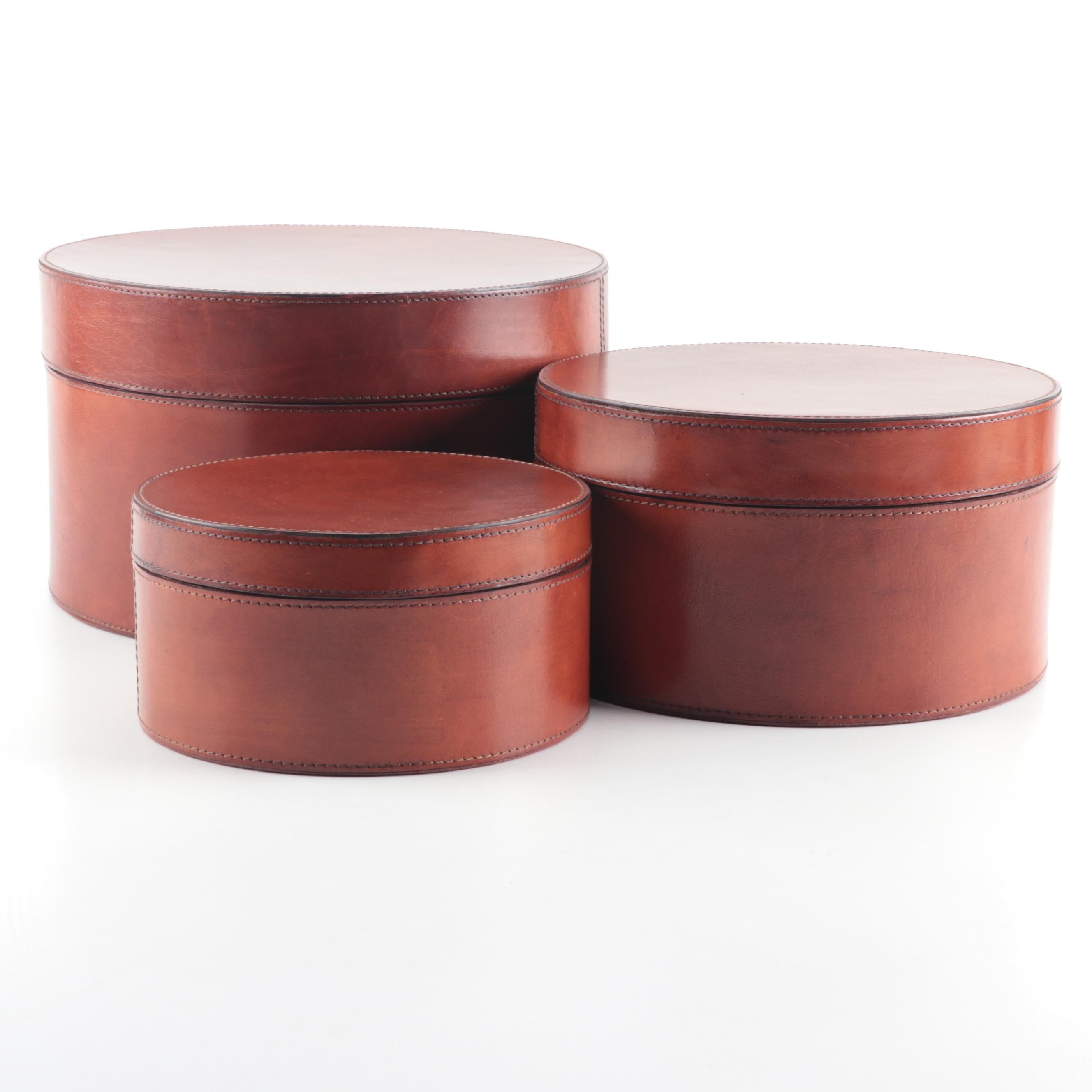 Brown Leather Lidded Nesting Boxes