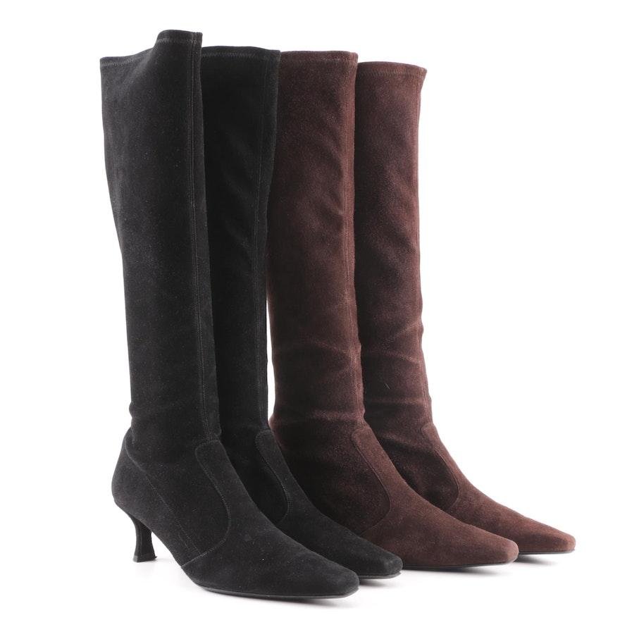 4e19c84fdce Stuart Weitzman Black and Dark Brown Suede Boots   EBTH