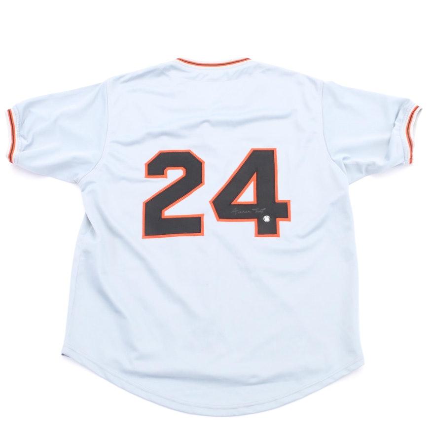 Hof Willie Mays Signed New York Giants Baseball Jersey Coa Ebth