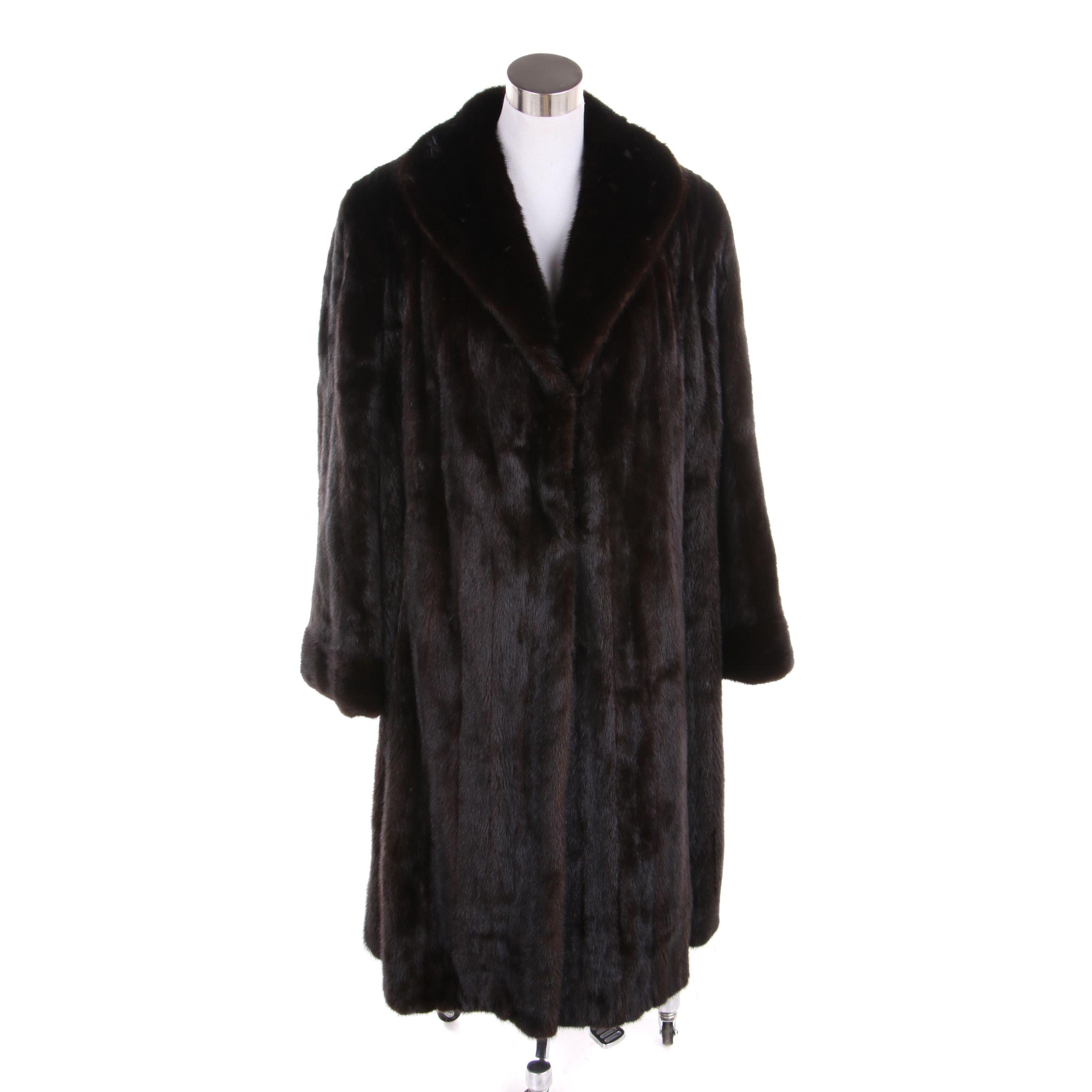 Women's Dark Mahogany Mink Fur Coat with Rabbit Fur Lined Leather Gloves